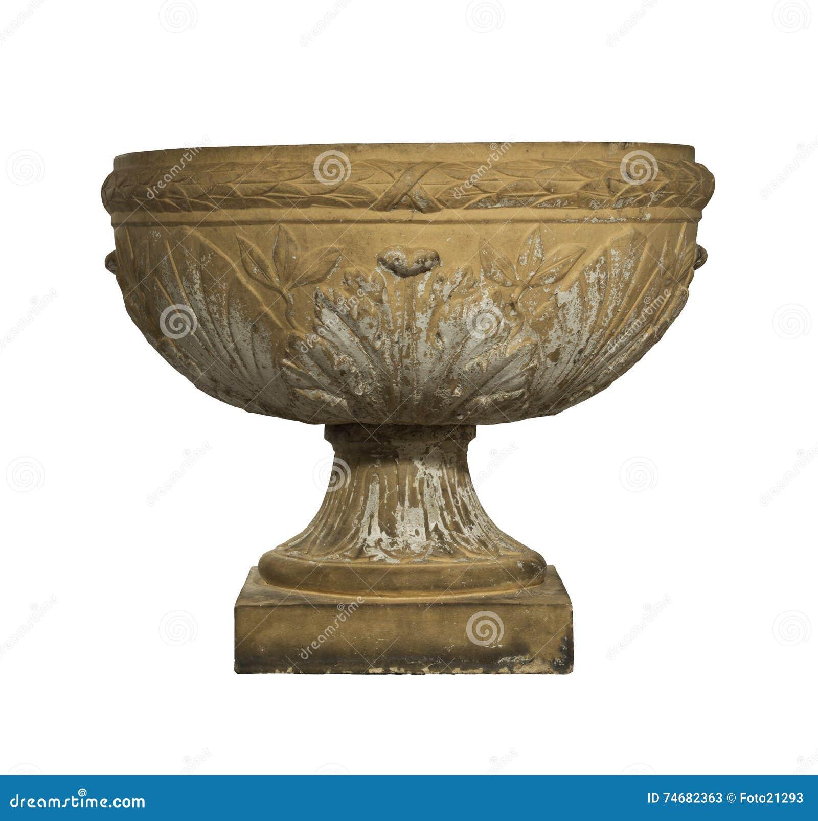 De Urn oude die antiquiteit van het tuinterracotta op wit wordt geïsoleerd