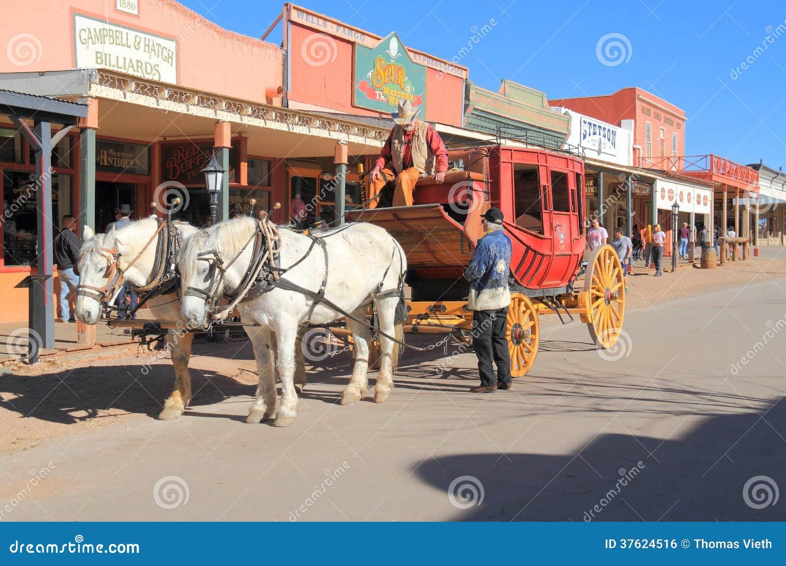 DE V.S., AZ: Het oude Westen - Stagecoach in Historische Straat