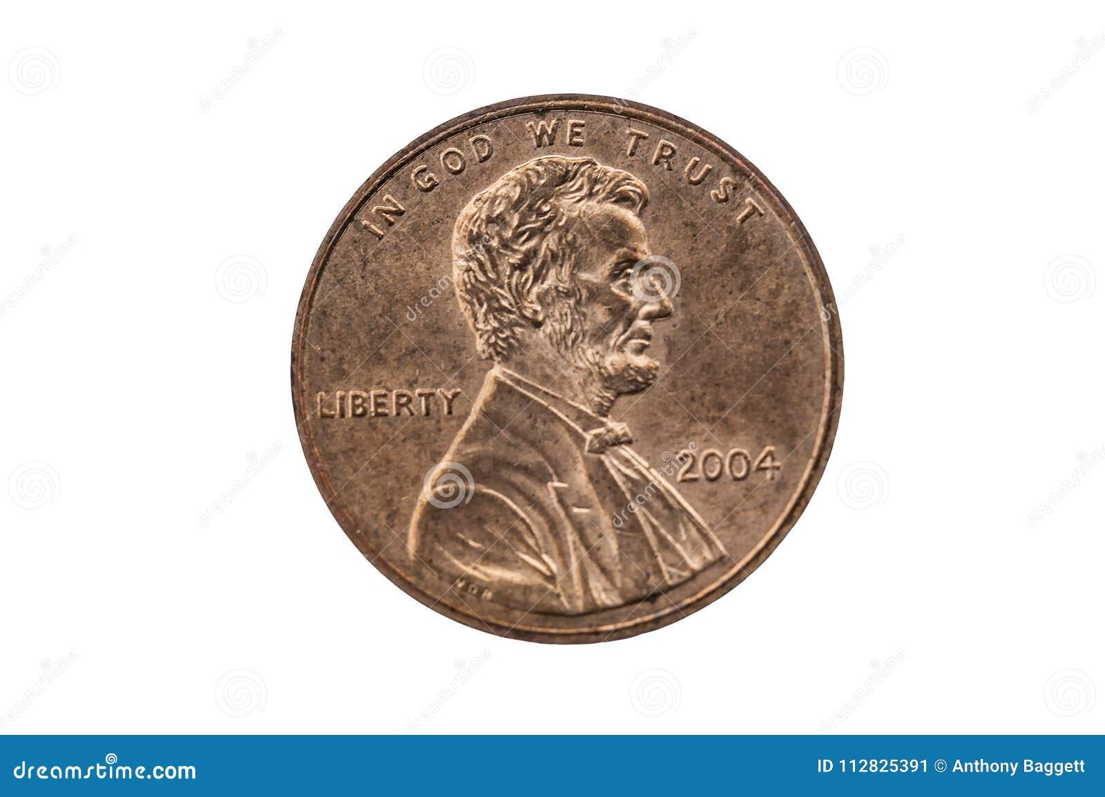 De V.S. het muntstuk van de één centstuiver met een portretbeeld van Abraham Lincoln