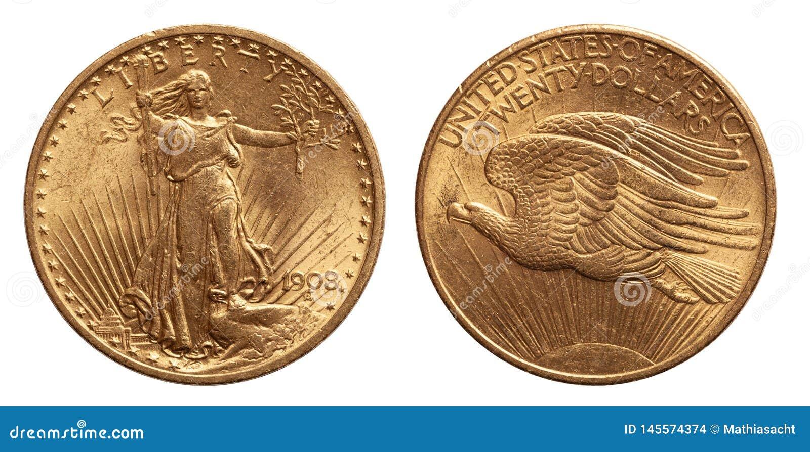 De V.S. Twintig 20 Dollars Gouden Muntstuk dat van whtieachtergrond wordt ge?soleerd