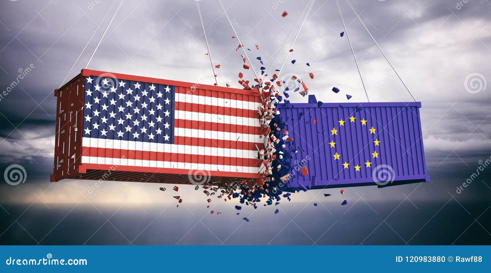 De V.S. van de Europese Unie van Amerika en vlaggen verpletterden containers op blauwe bewolkte hemelachtergrond 3D Illustratie