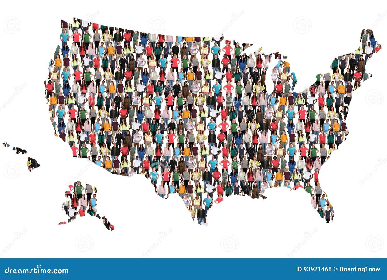 De V.S. Verenigde Staten brengen multiculturele groeps mensen integratie in kaart