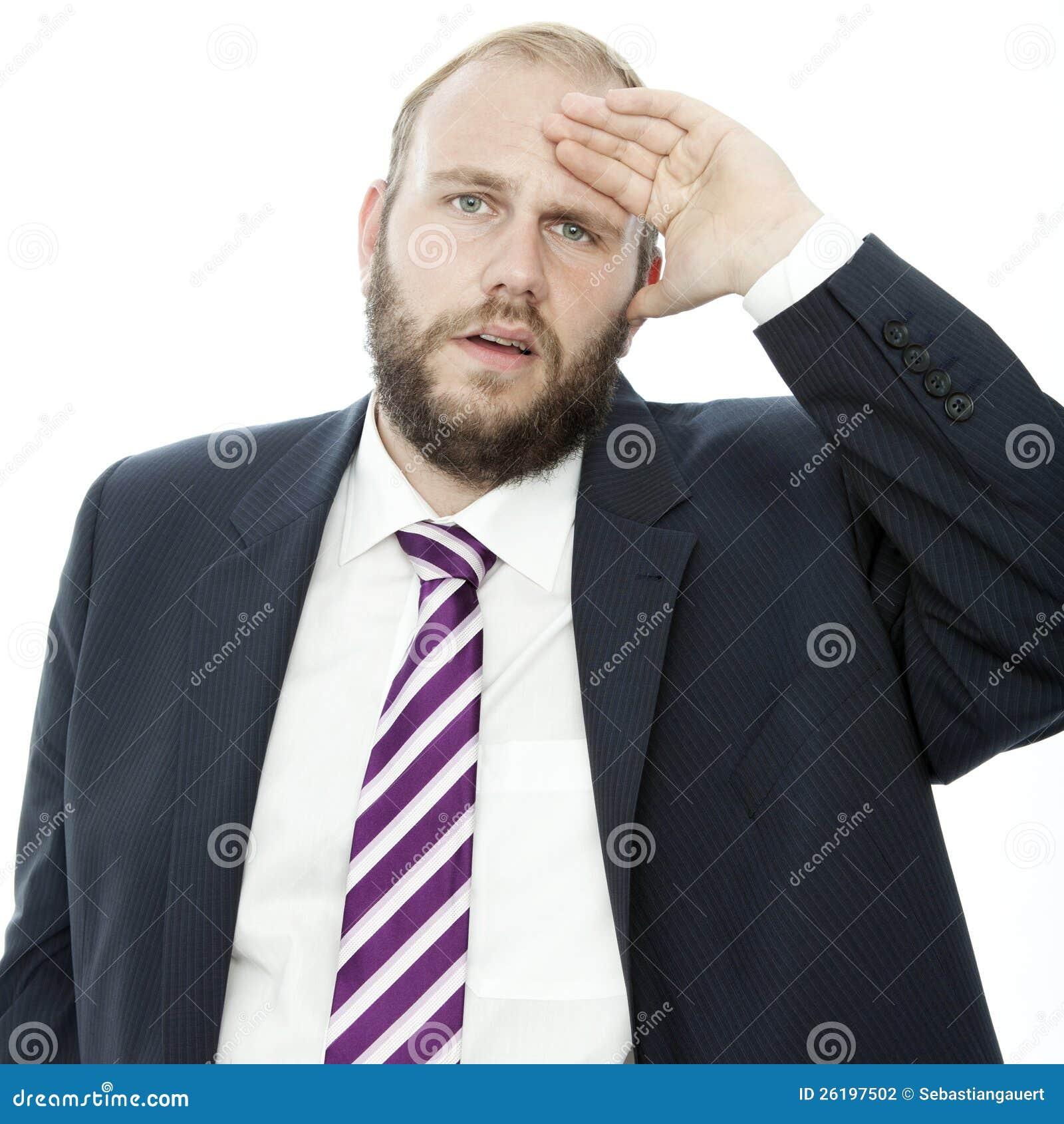 De van de bedrijfs baard mens met hand op hoofd is gefrustreerd