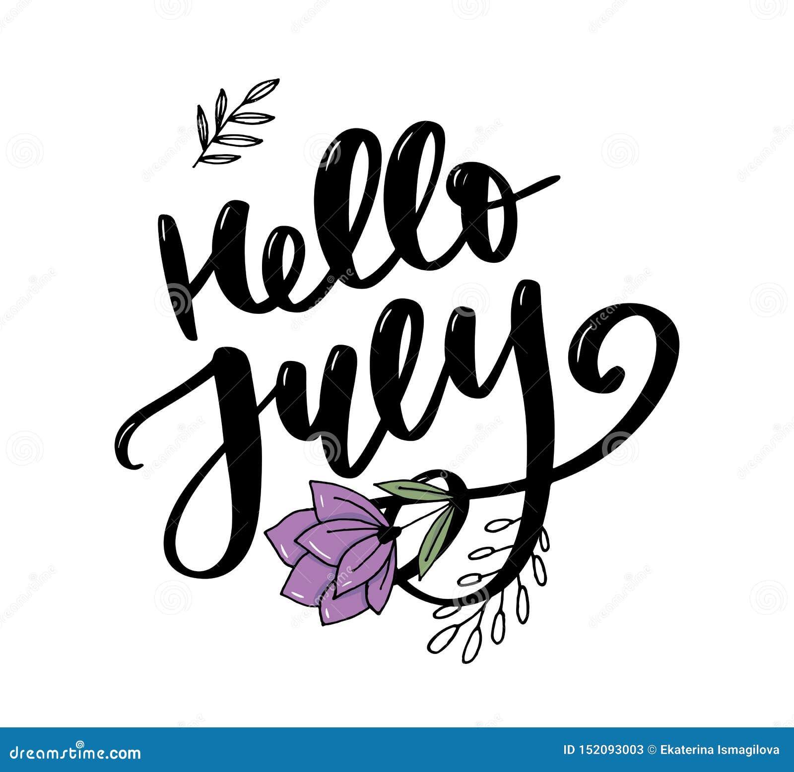 De van letters voorziende druk van Hello Juli De zomer minimalistic illustratie Ge?soleerde kalligrafie op witte achtergrond