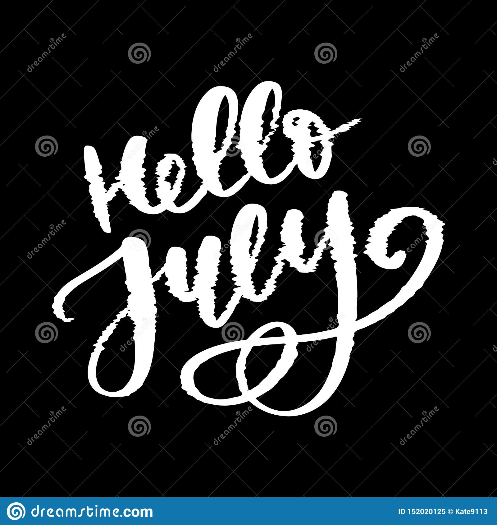 De van letters voorziende druk van Hello Juli De zomer minimalistic illustratie Ge?soleerde kalligrafie op witte achtergrond glit