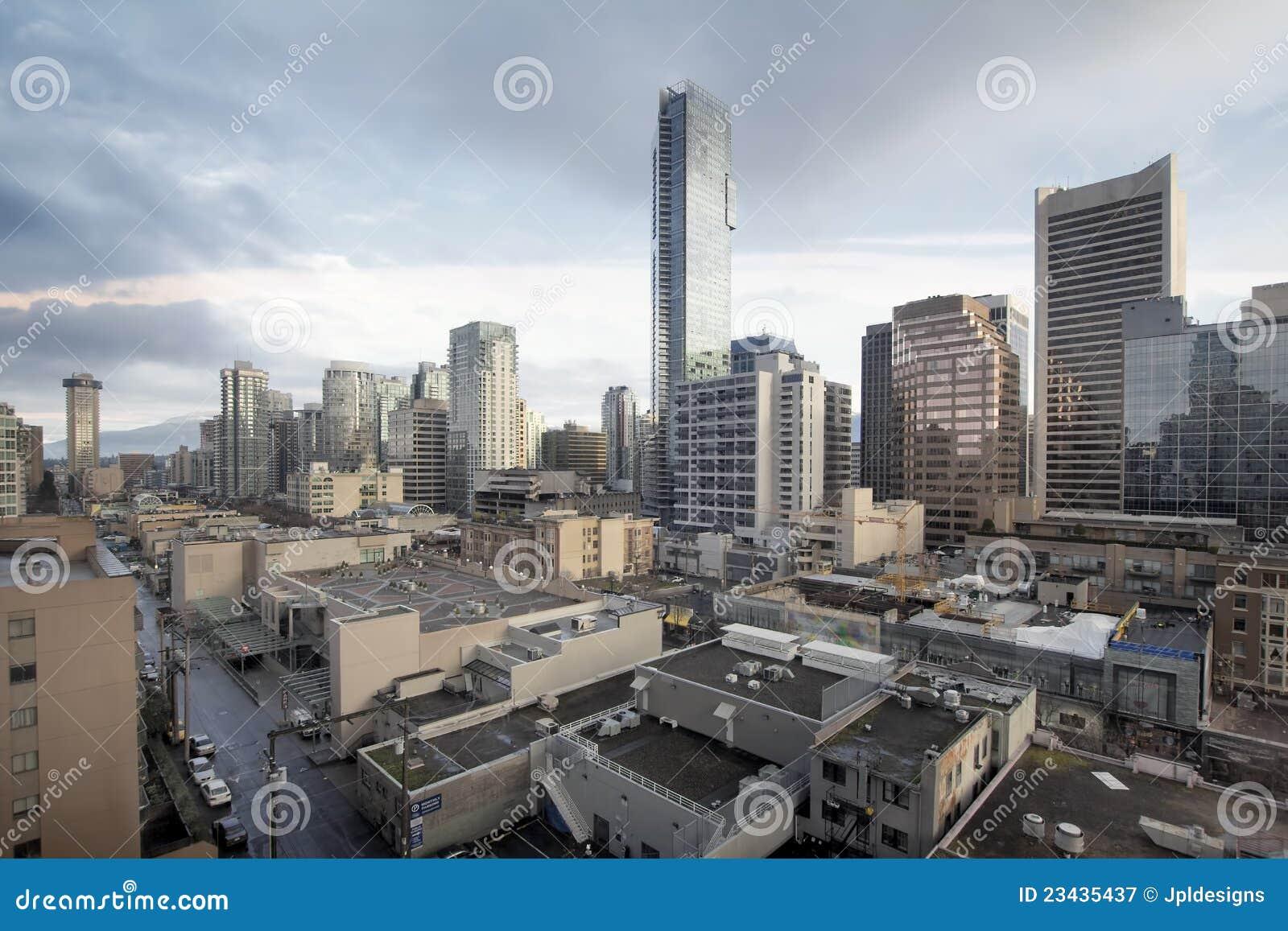 De Vancouver día del paisaje urbano de la calle A.C. Robson