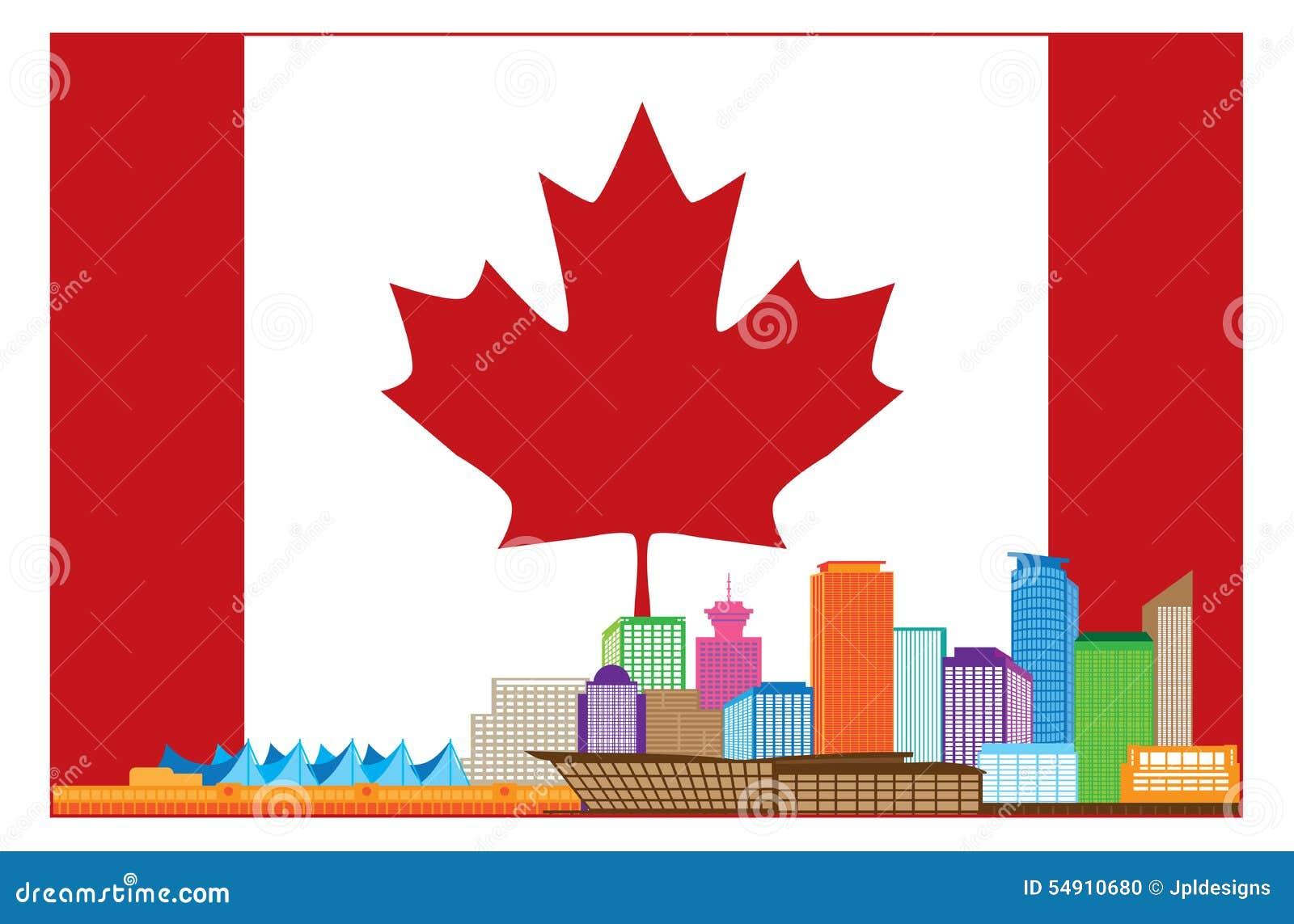 De Vancouver Horizonte Colorido A.C. Canadá En Bandera Canadiense ...