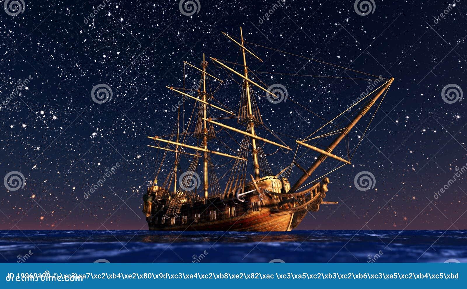 De varende boot gaat op een reis onder sterrelicht.
