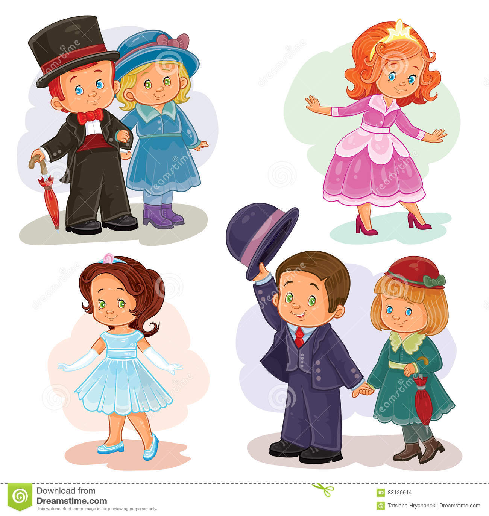 De vastgestelde illustraties van de klemkunst met jonge kinderen in historische kostuums