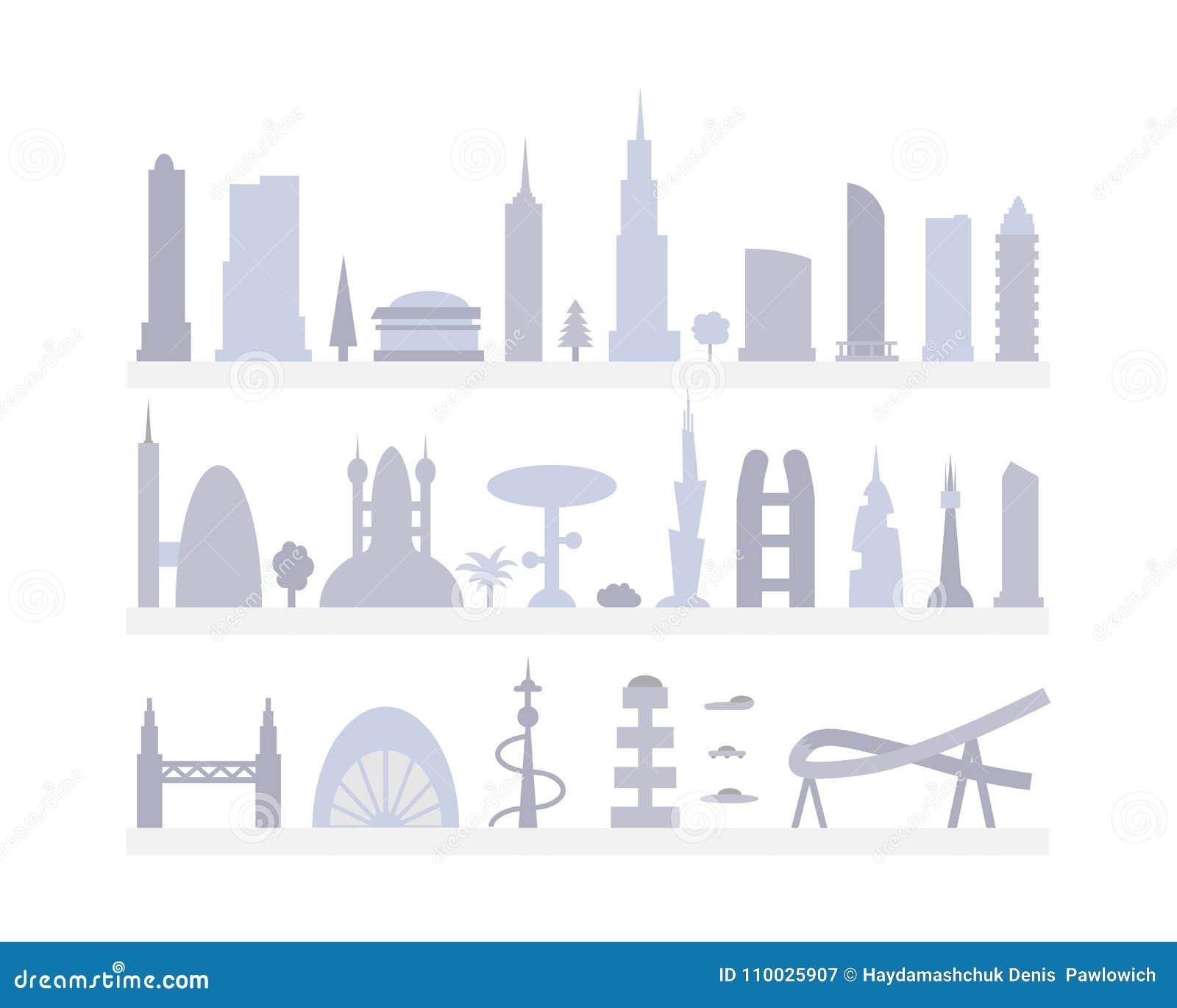De vastgestelde silhouetten van stadsgebouwen cityscape voortaan De moderne vectorillustratie van stadselementen
