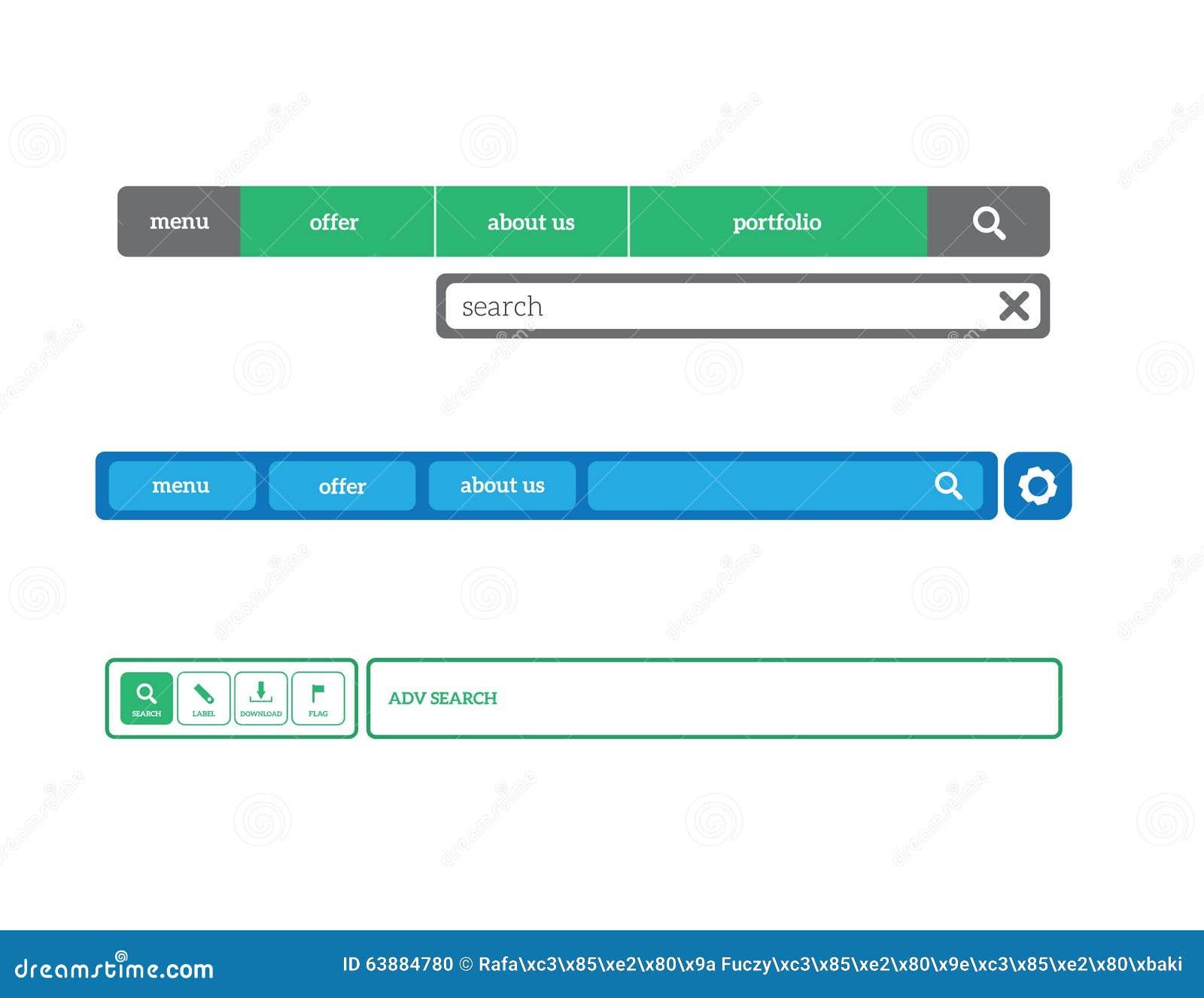 De vastgestelde vector van het Webistemenu