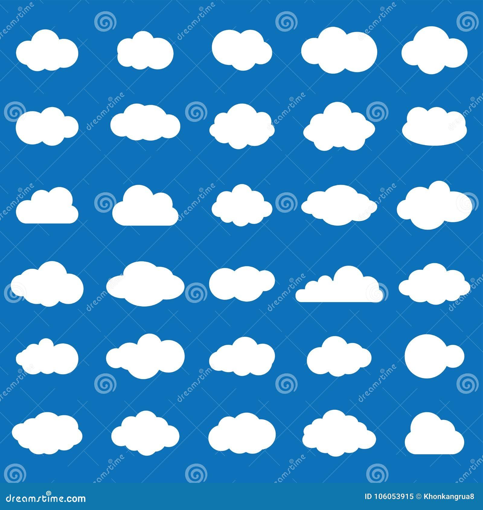 De vastgestelde witte kleur van het wolkenpictogram op blauwe achtergrond Hemel vlakke I