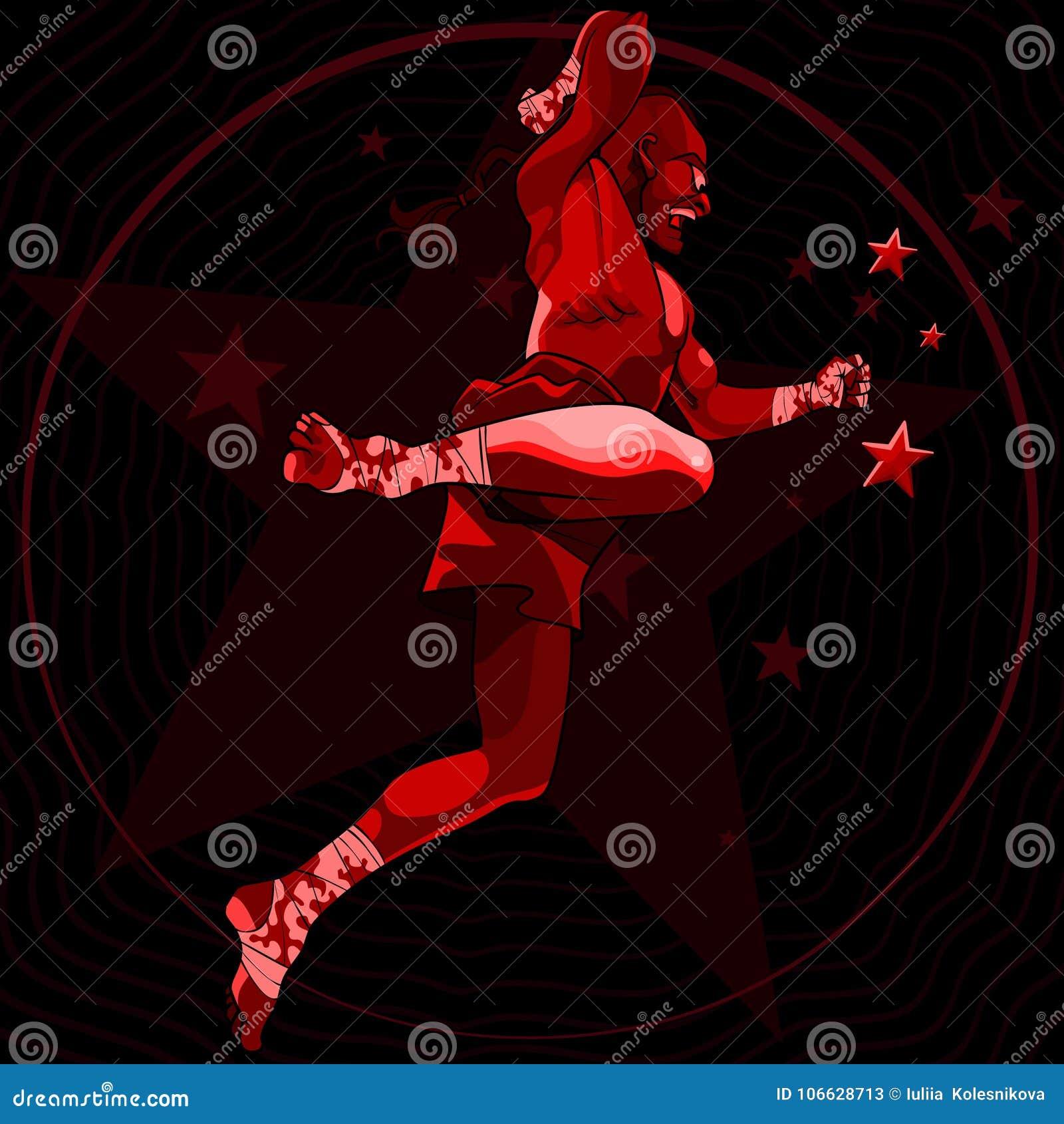 De vechter van de beeldverhaalmens in een sprong in rode tonen