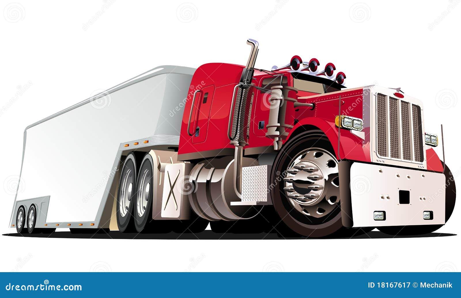 De vecteur de dessin animé camion semi