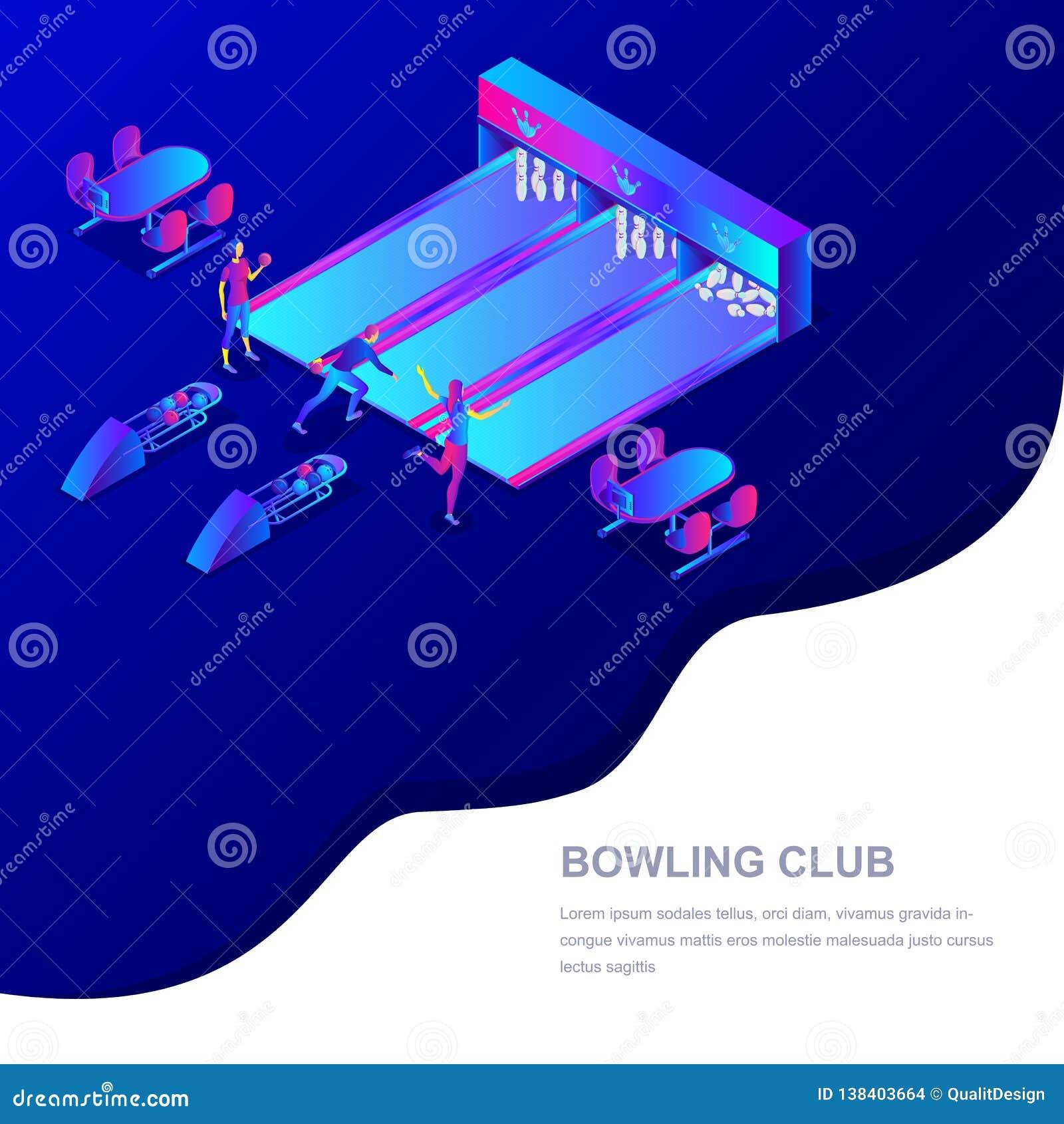 De vector 3d isometrische illustratie van de kegelenclub Mensen die kegelen spelen De sportconcurrentie en het concept van de vri