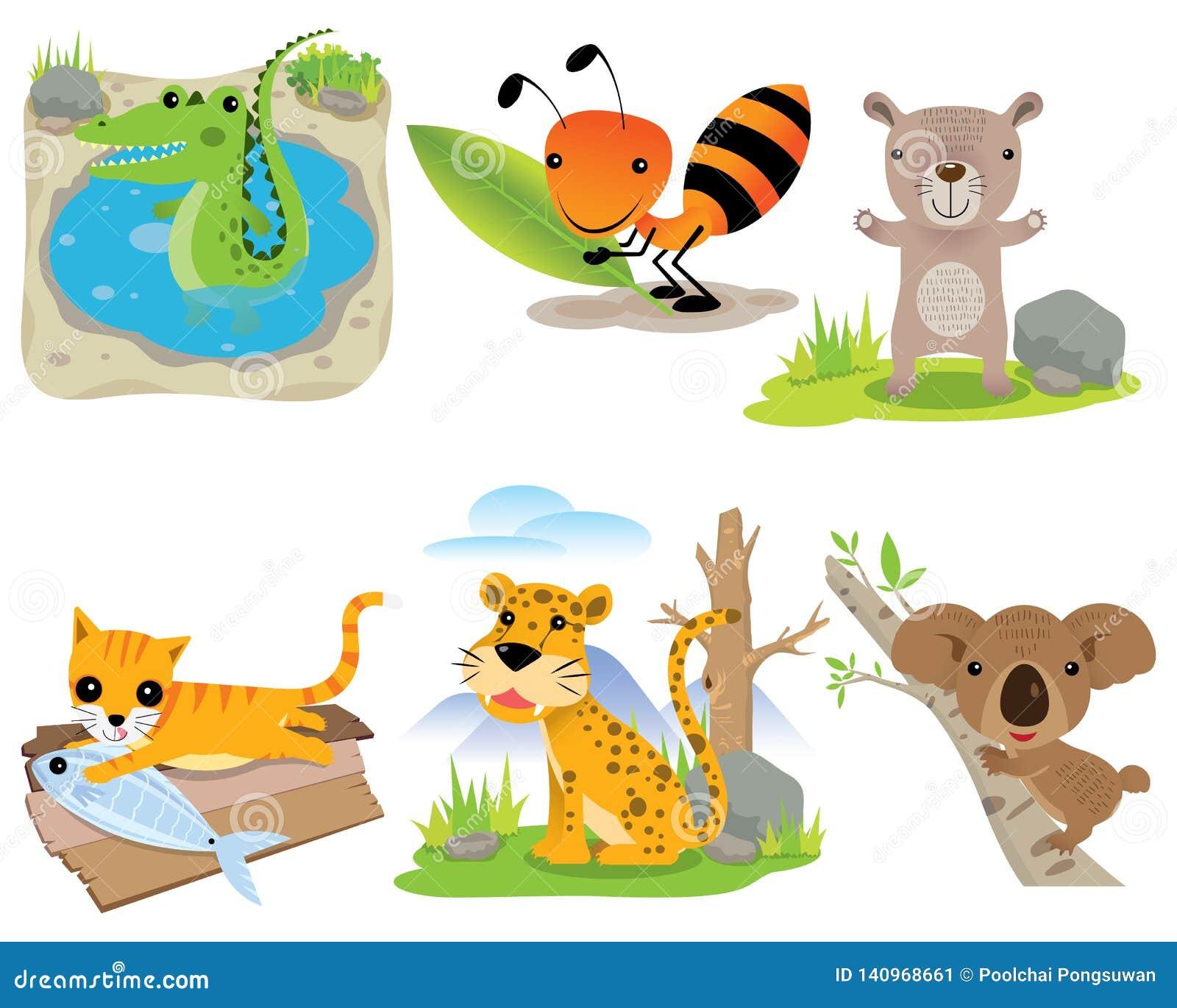 De vector dierlijke reeks, krokodil, mier, draagt, kat, luipaard, koala,