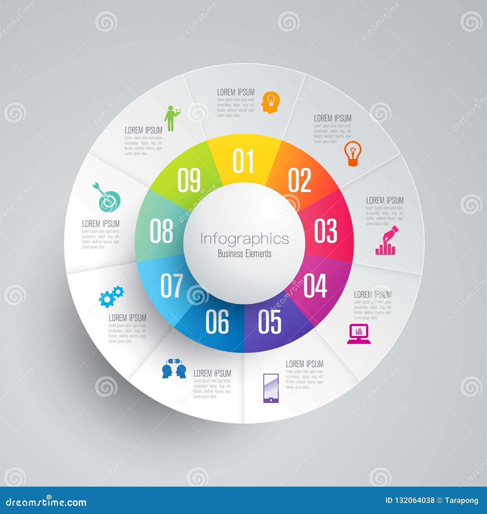 De vector en van het Bedrijfs infographicsontwerp pictogrammen met 9 opties