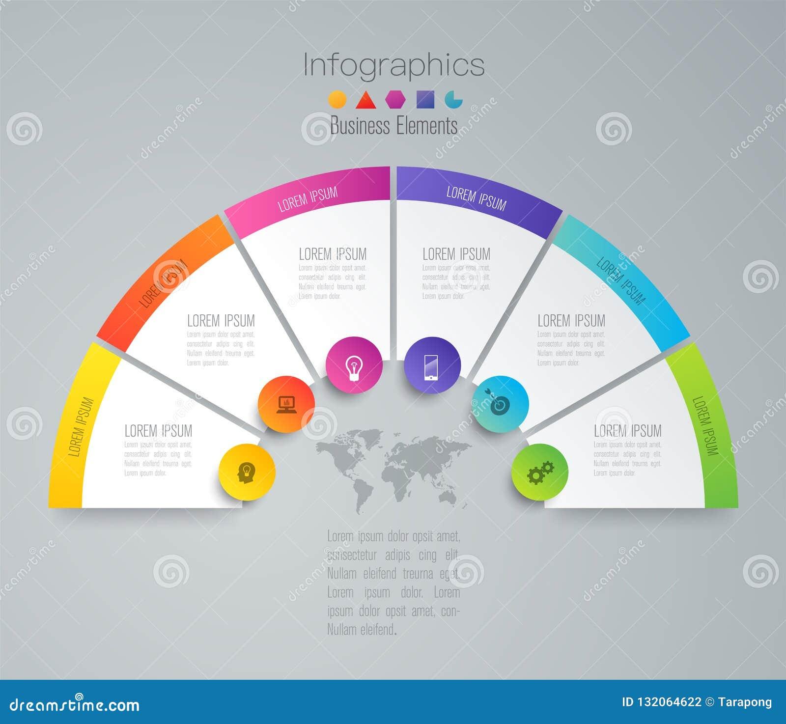 De vector en van het Bedrijfs infographicsontwerp pictogrammen met 6 opties