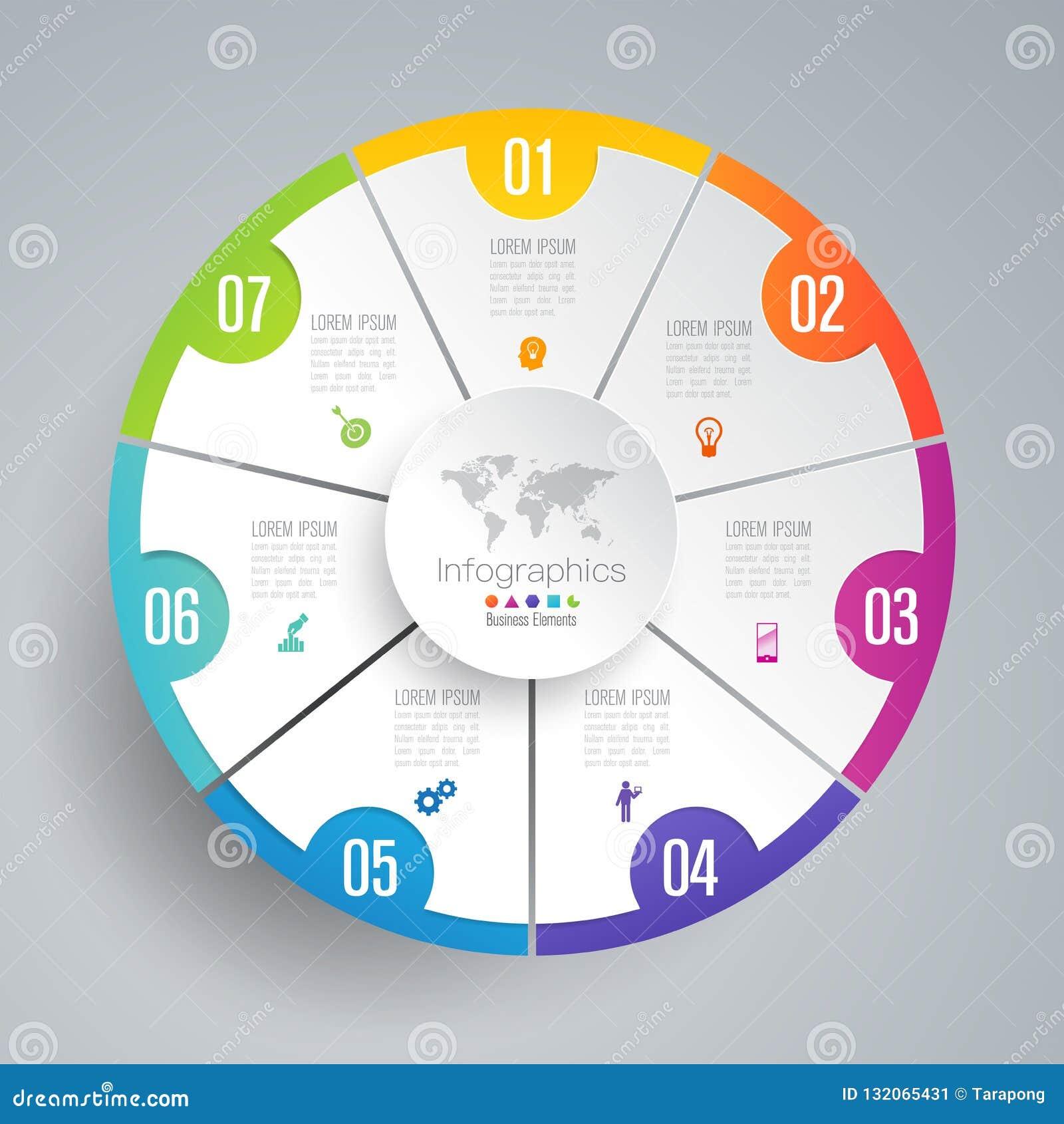 De vector en van het Bedrijfs infographicsontwerp pictogrammen met 7 opties