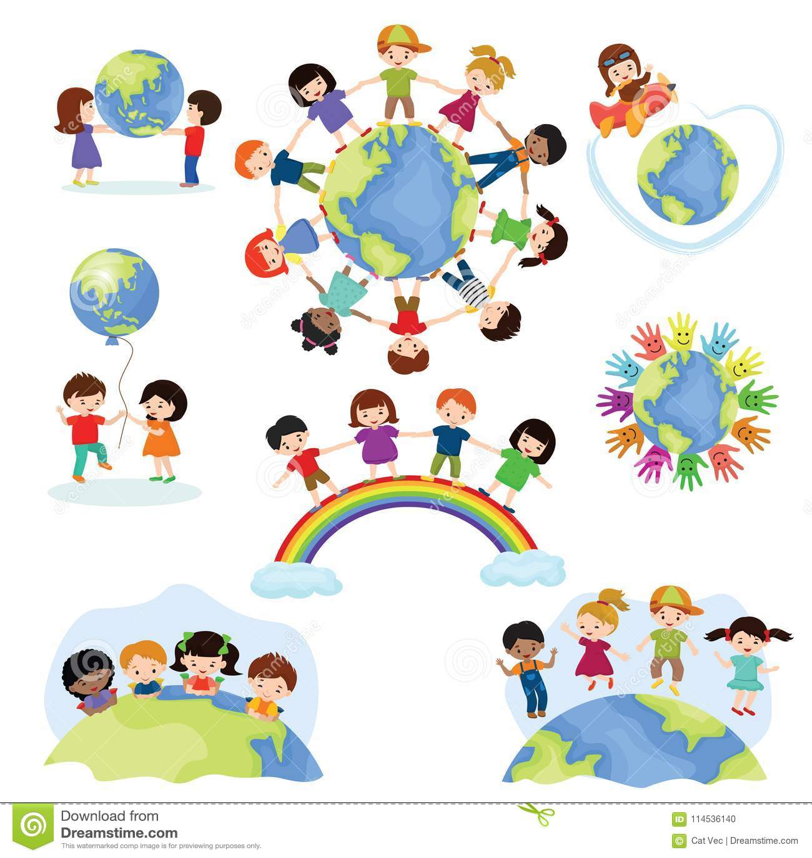 De vector gelukkige jonge geitjes van de kinderenwereld op aarde in vrede en aardse vreedzame vriendschapsillustratie wereldwijd
