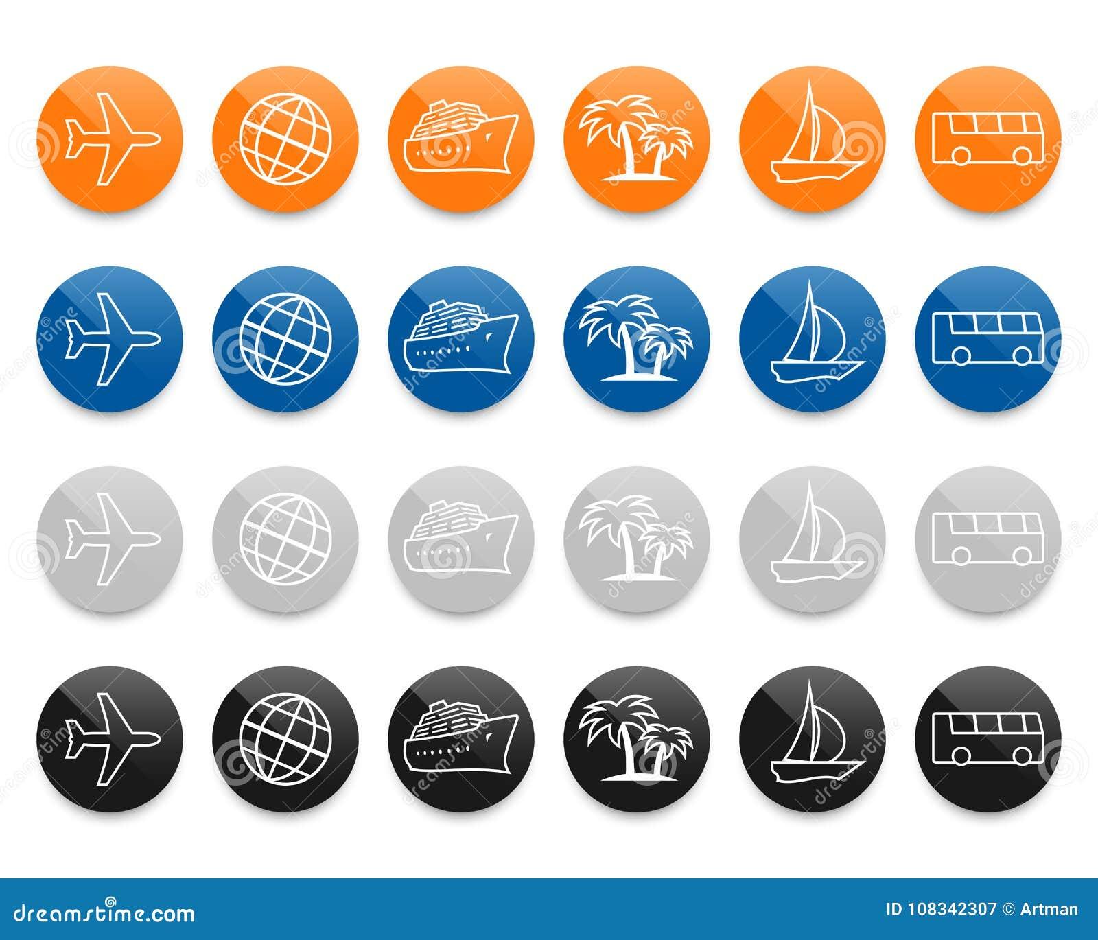 De vector geplaatste pictogrammen van de reislijn