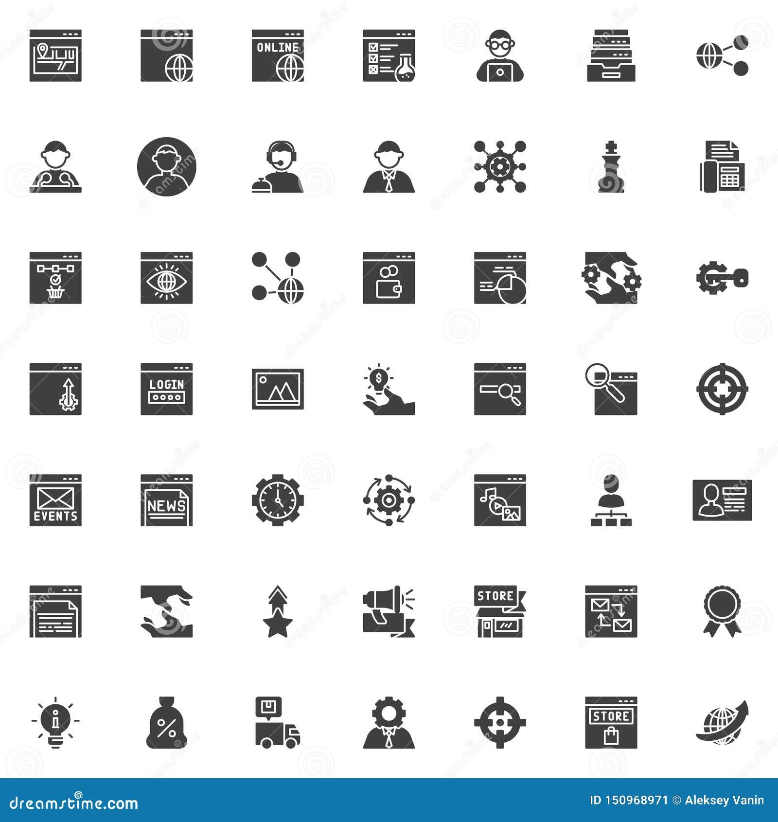 De vector geplaatste pictogrammen van SEO en van de Internetservice