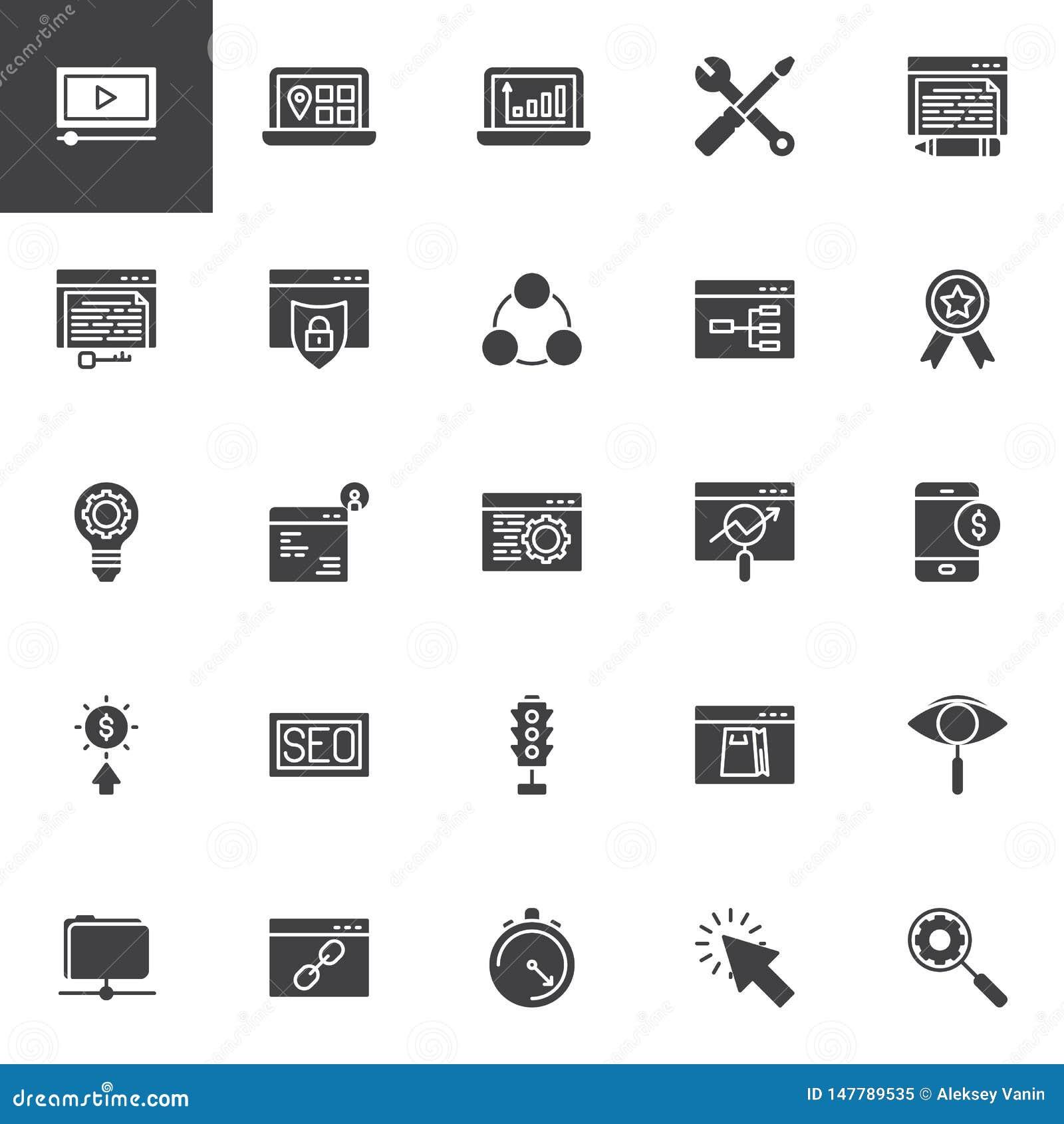 De vector geplaatste pictogrammen van de zoekmachineoptimalisering