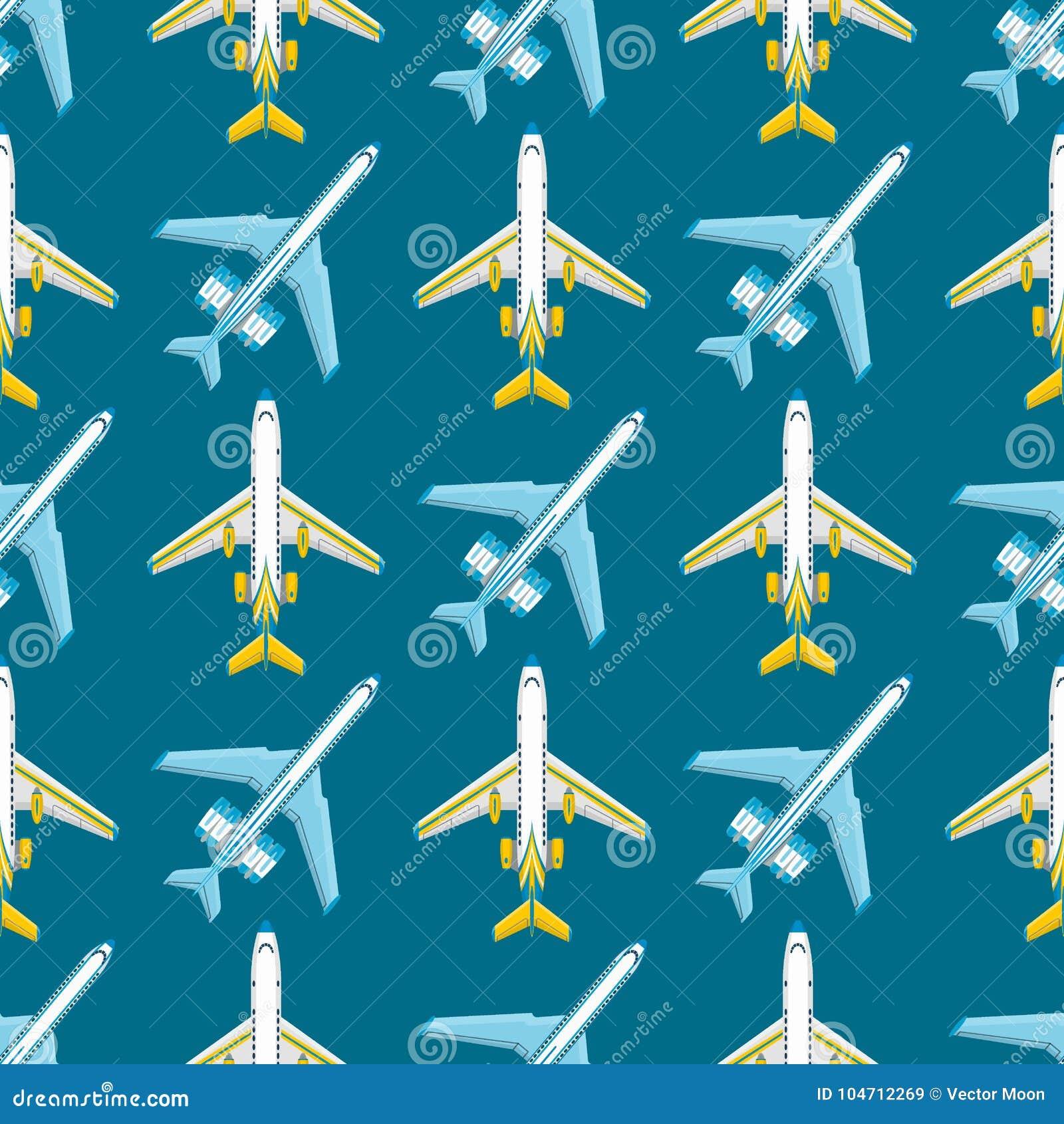 De vector het patroon van het van de achtergrond vliegtuigillustratie naadloze van de de reismanier vliegtuigenvervoer snelheid v