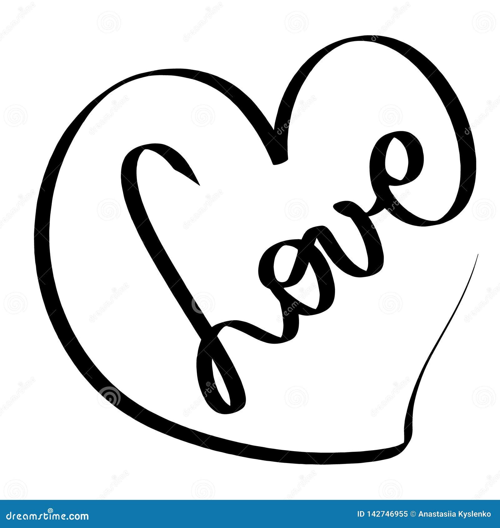 De vector illustratie van de Liefde Romantisch teken Zwarte hartkaart liefdepictogram Verwarde grungy ronde die gekrabbelhand met
