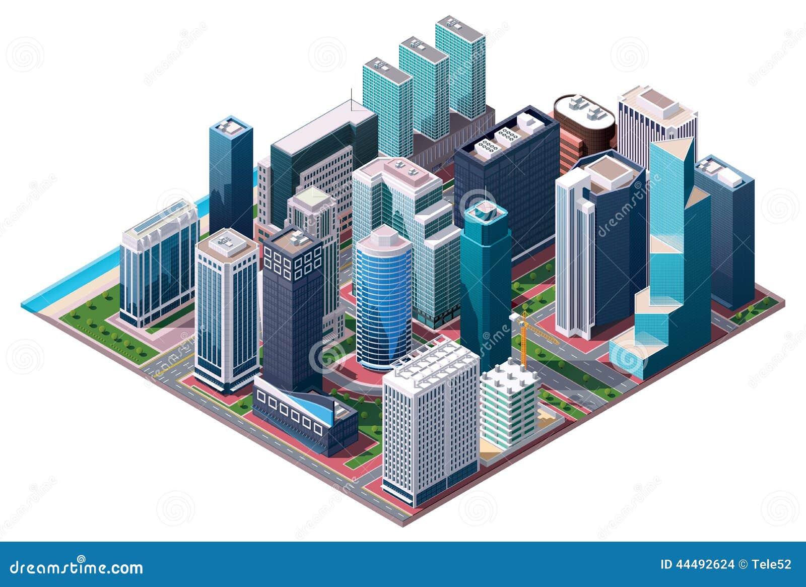 De vector isometrische kaart van het stadscentrum