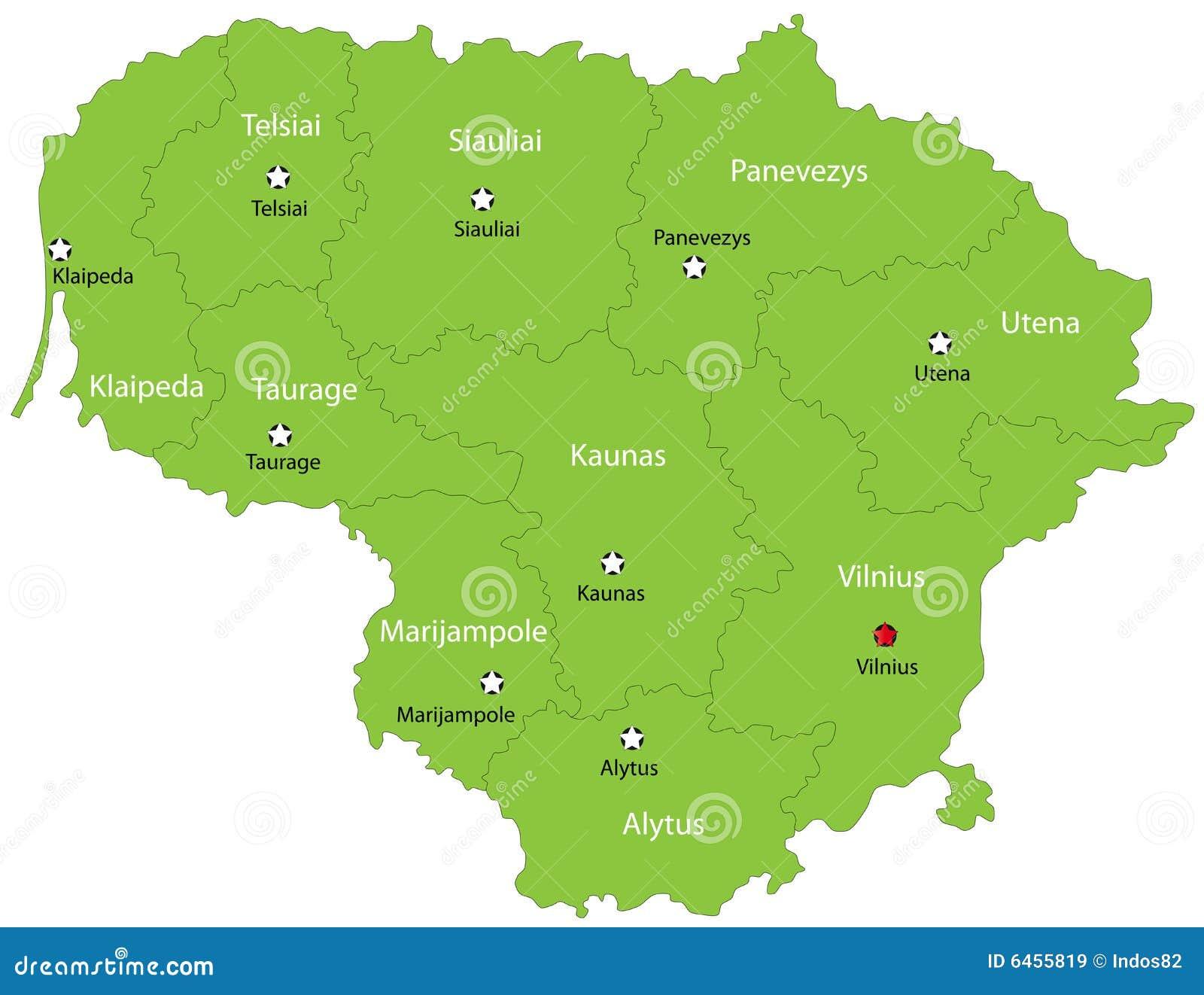 De vector kaart van Litouwen
