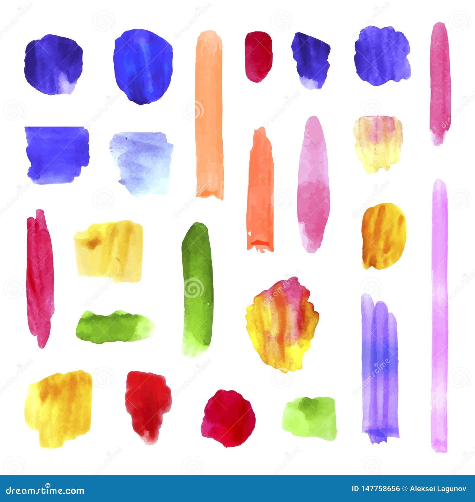 De vector Kleurrijke Inzameling van Waterverfkwaststreken, Realistische Verftextuur, Plonsen en Punten, Artistieke Hand Getrokken
