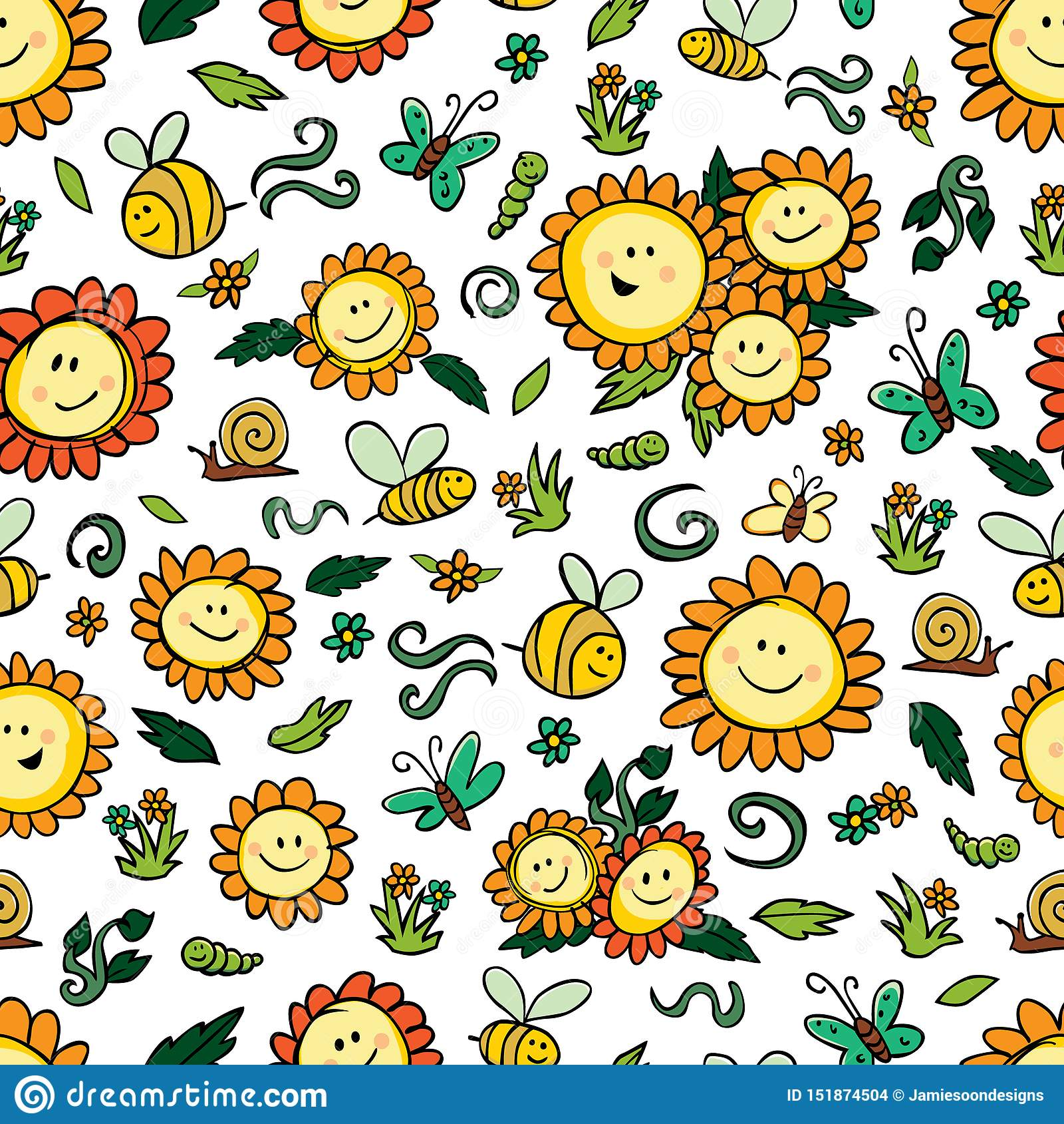De vector kleurrijke zonnebloemen en de bijen herhalen patroon met witte achtergrond Geschikt voor giftomslag, textiel en behang