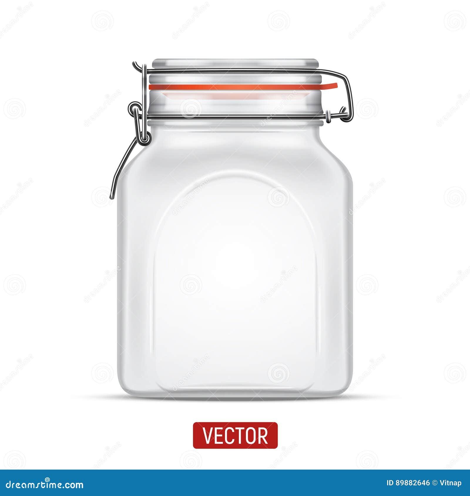 De vector lege Kruik van het Baal Vierkante Glas met Schommelings Hoogste die Deksel over de witte achtergrond wordt geïsoleerd