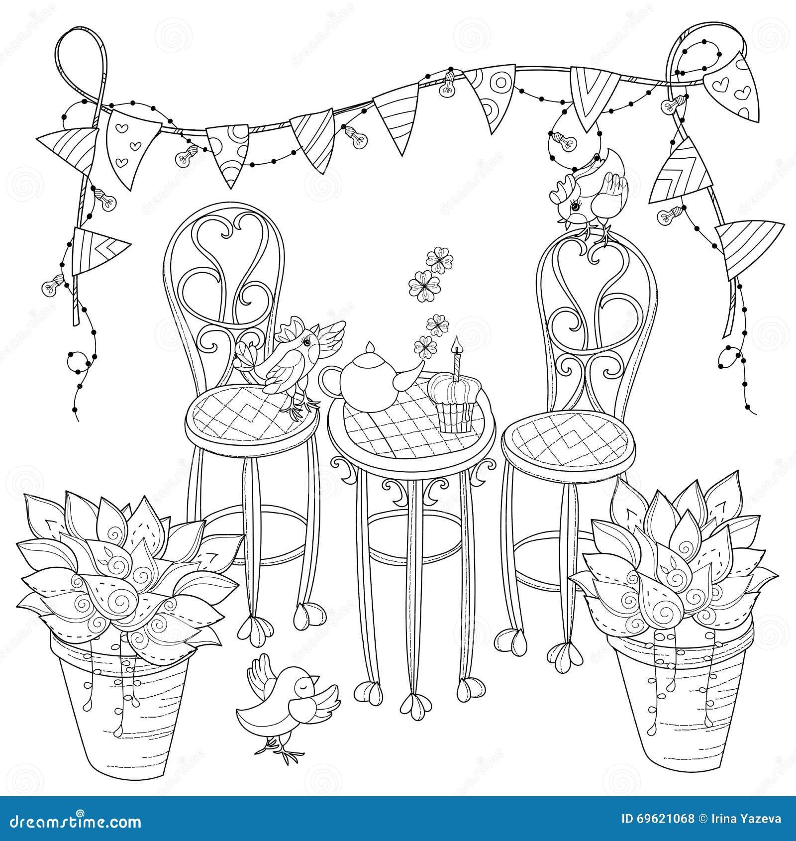 de vector leuke tijd van de verjaardagsthee in bloemen