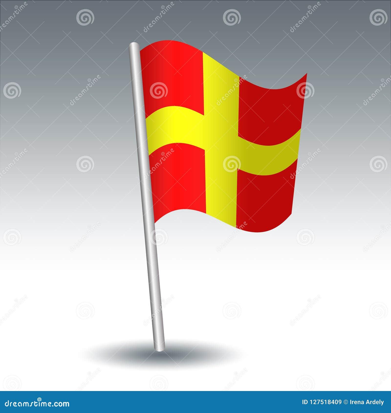 De vector maritieme Charmeur van de signaalvlag R op gehelde metaal zilveren pool - symbool van afstands - gele en rode kleur