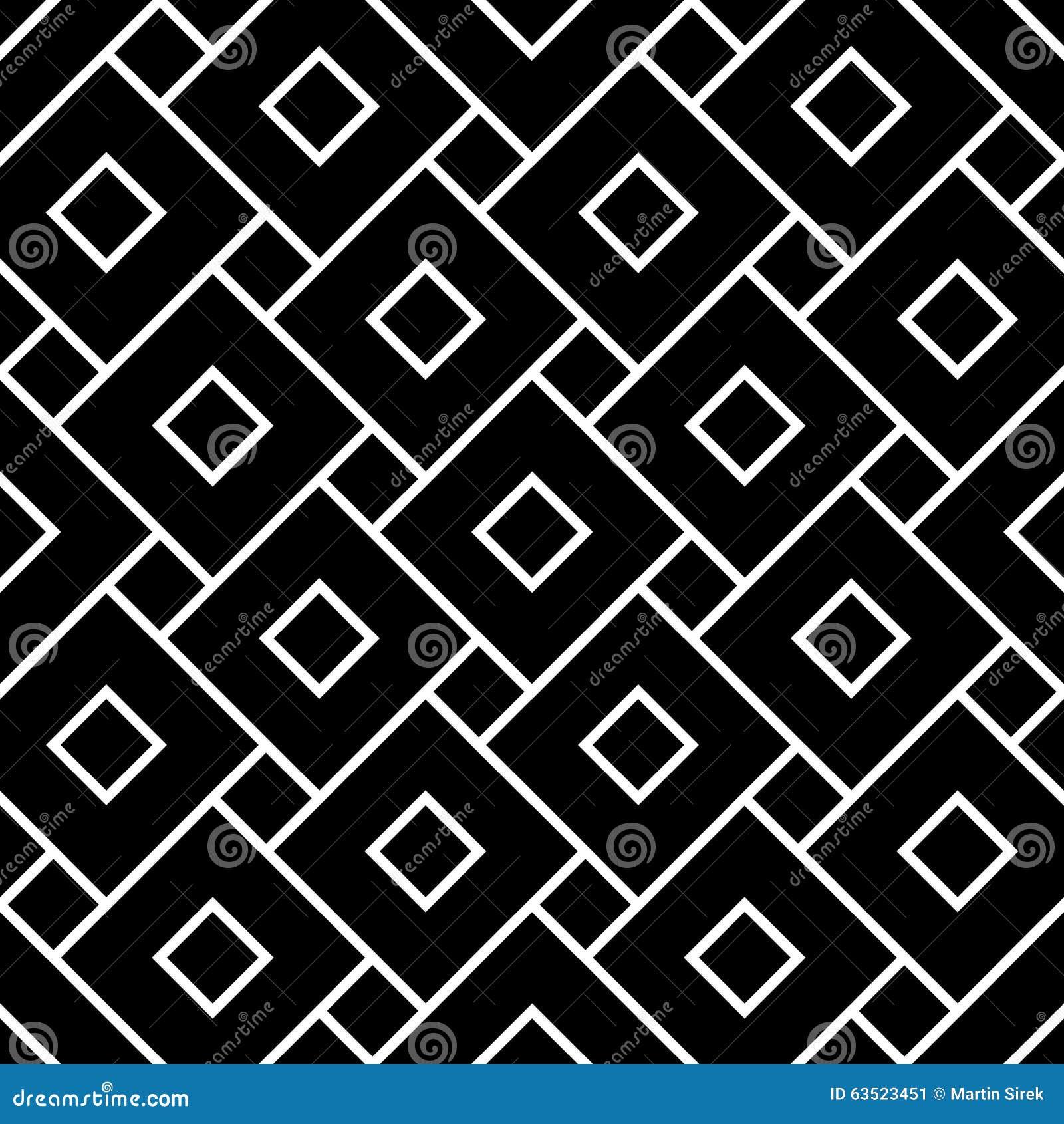 De vector moderne naadloze vierkanten van het meetkundepatroon, zwart-witte samenvatting