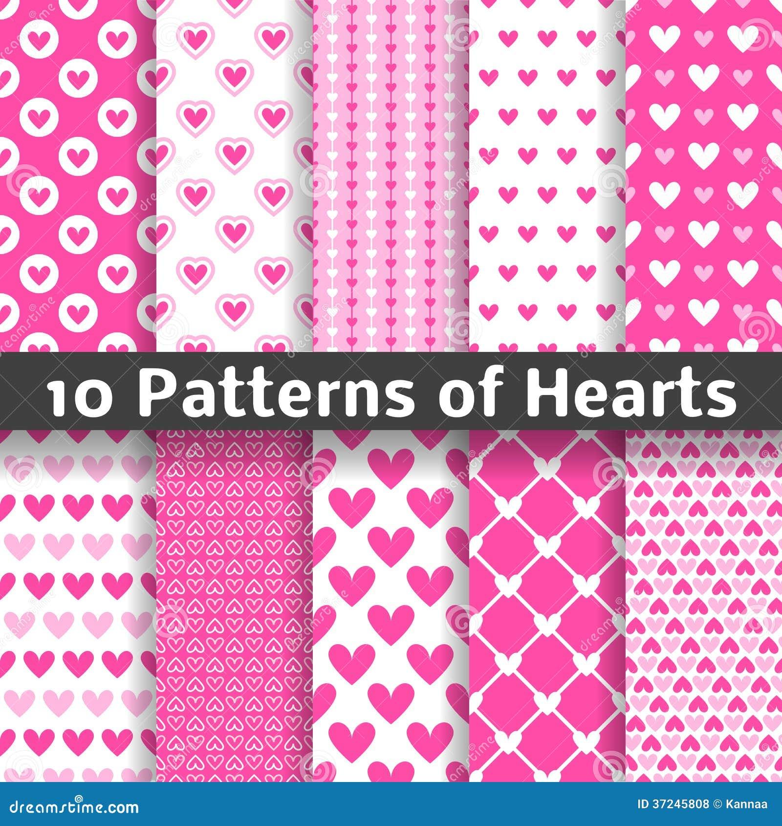 De vector naadloze patronen van de hartvorm (het betegelen)