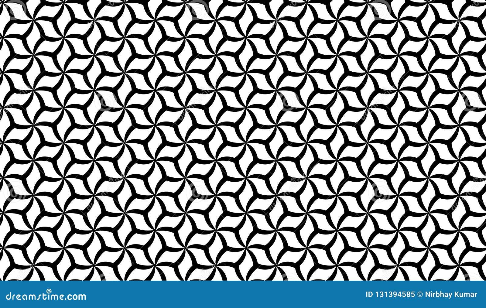 De vector Naadloze Zwart-witte Geometrische Achtergrond van het bloempatroon
