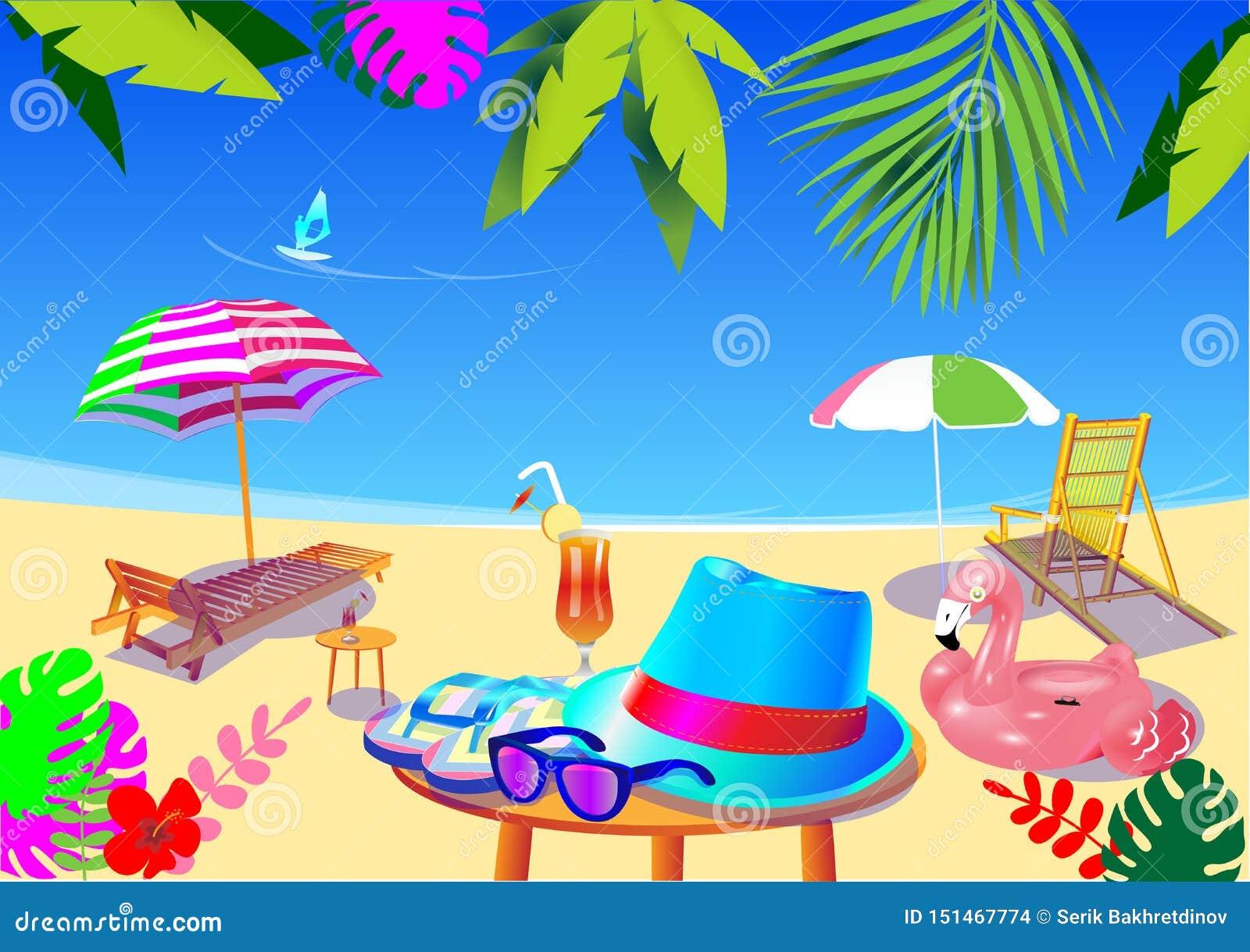 De vector plaatste allen voor de zomervakantie Strandtoebehoren,
