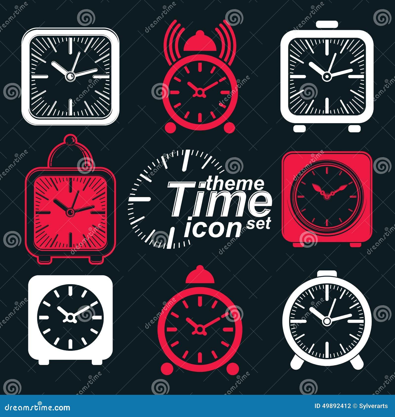 De vector regelde 3d wekkers met klokklok