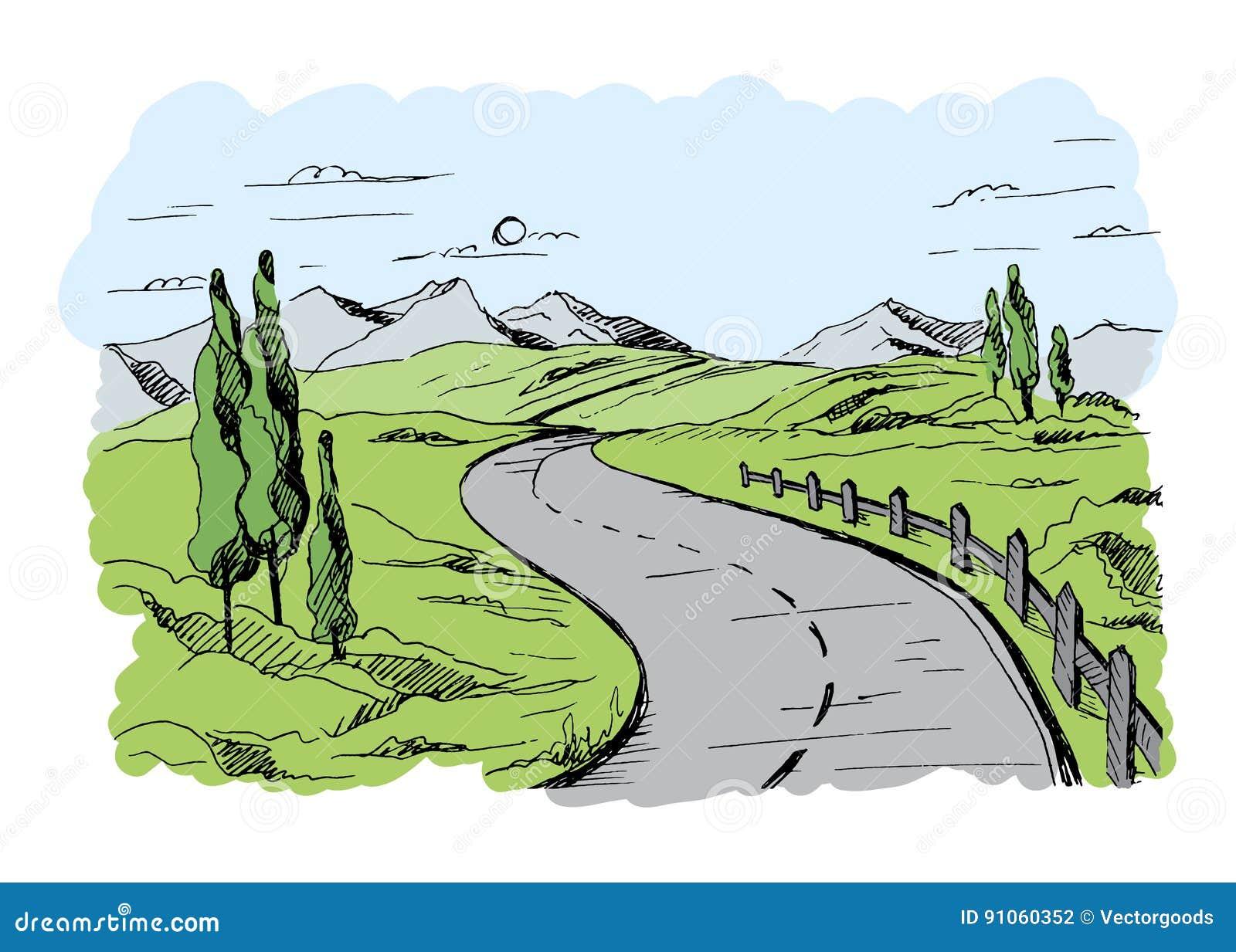 De vector van de bergweg