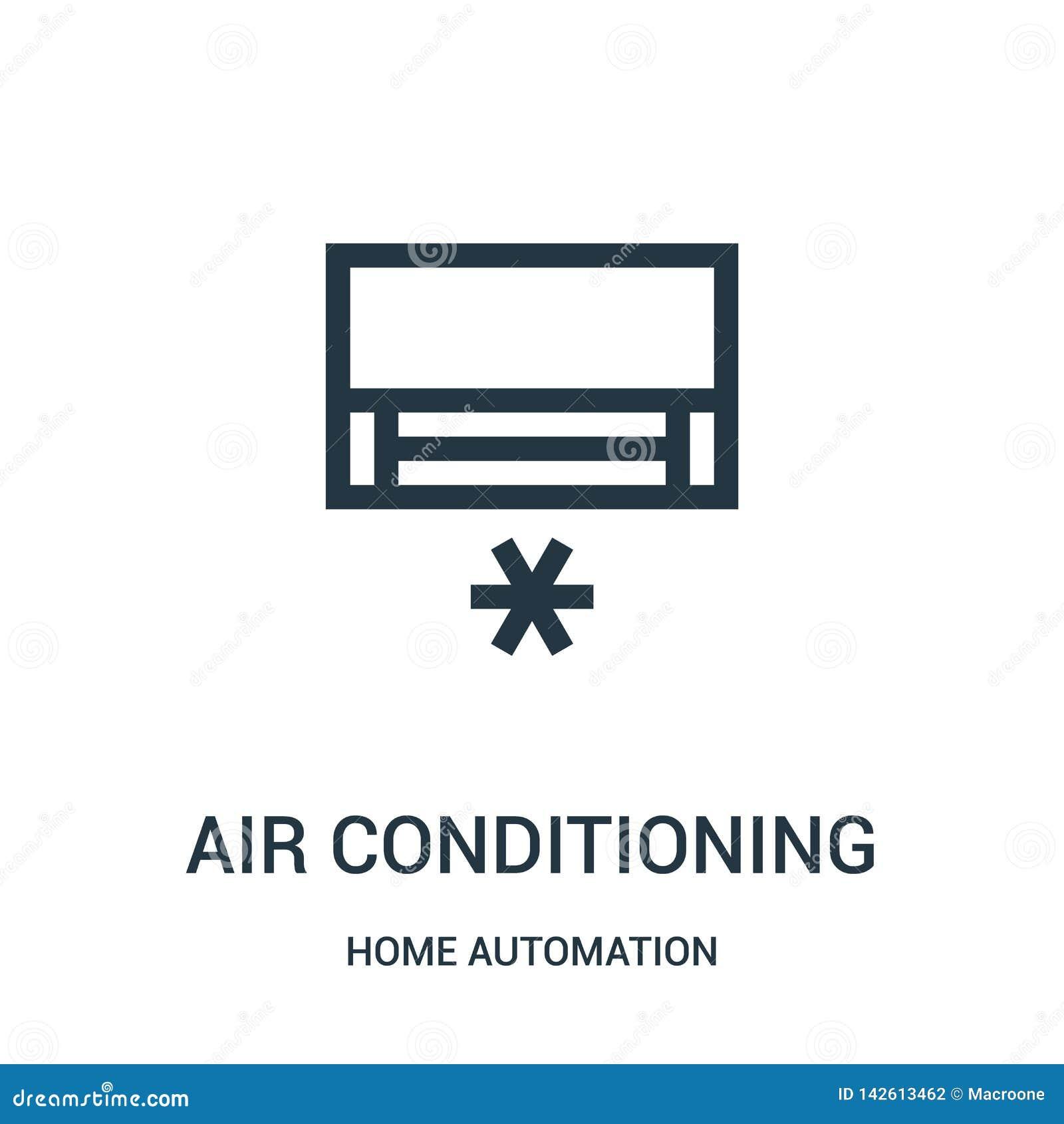 De vector van het airconditioningspictogram van de inzameling van de huisautomatisering De dunne van het het overzichtspictogram