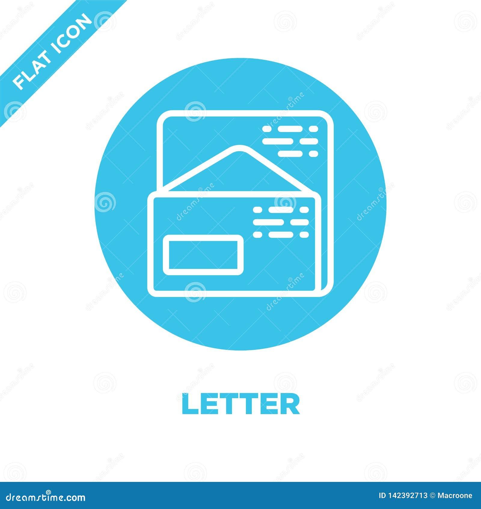 De vector van het brievenpictogram van kantoorbehoefteninzameling De dunne van het het overzichtspictogram van de lijnbrief vecto