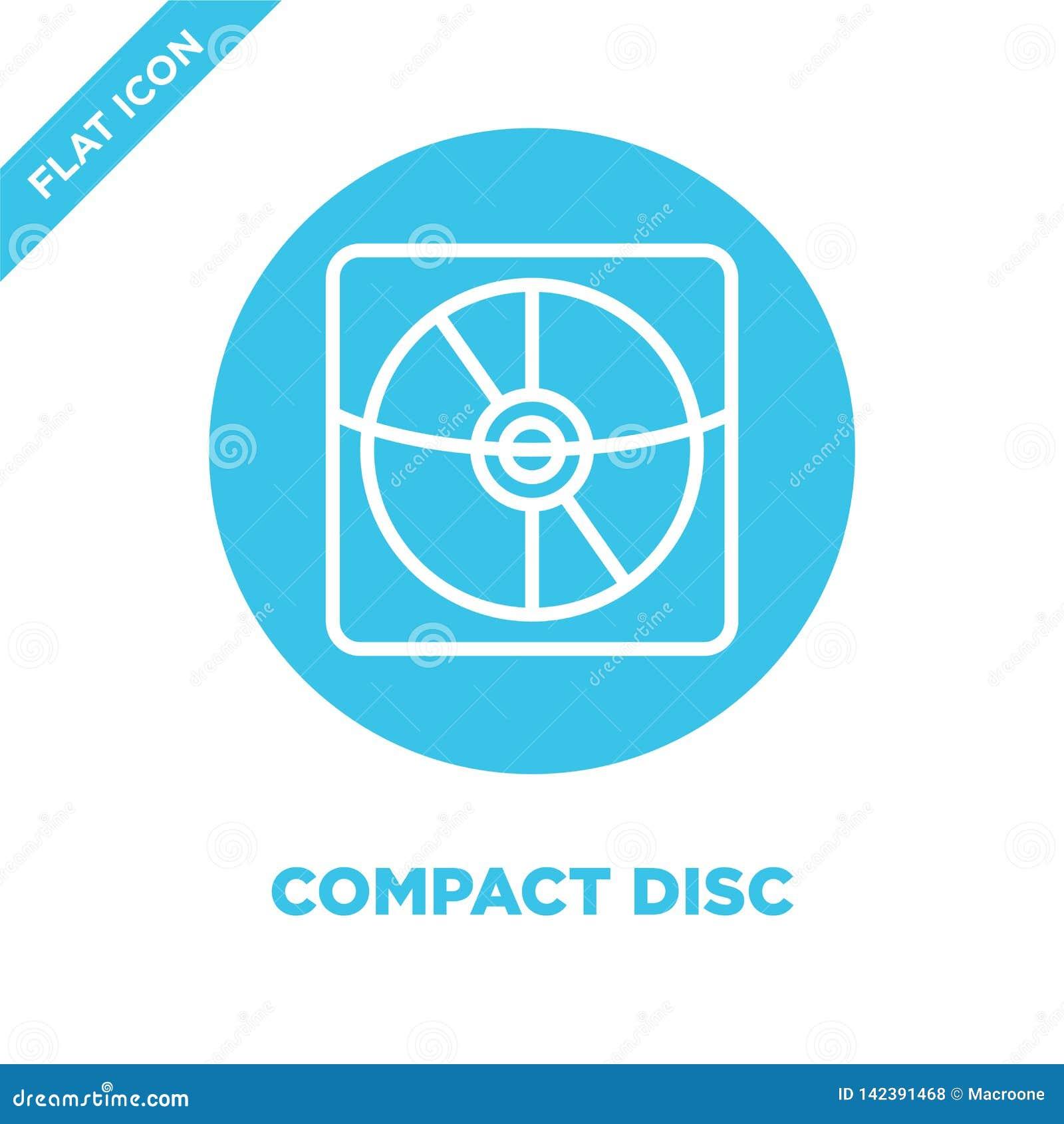 De vector van het compact discpictogram van kantoorbehoefteninzameling De dunne van het het overzichtspictogram van de lijn compa