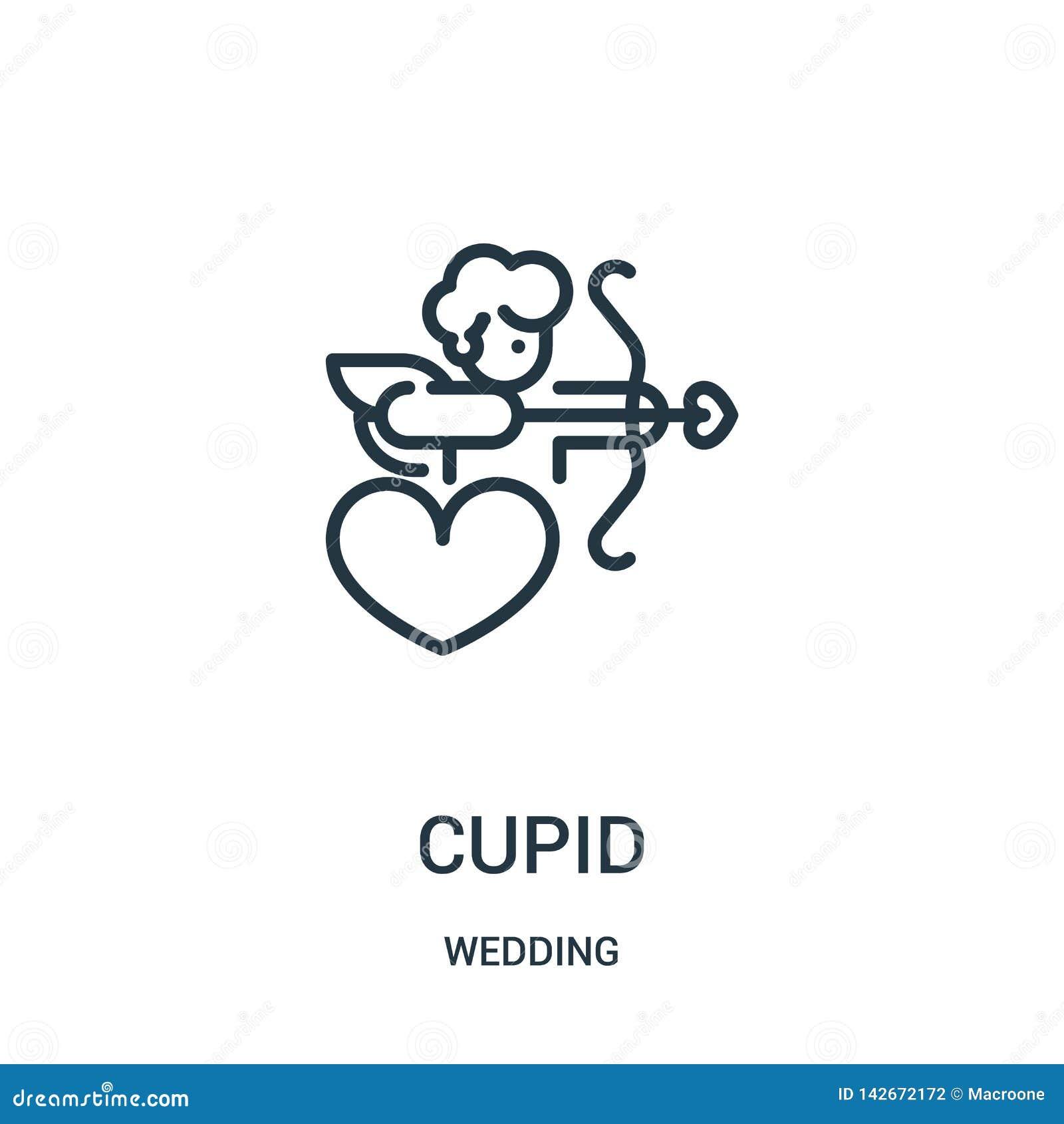 De vector van het cupidopictogram van huwelijksinzameling De dunne van het het overzichtspictogram van de lijncupido vectorillust
