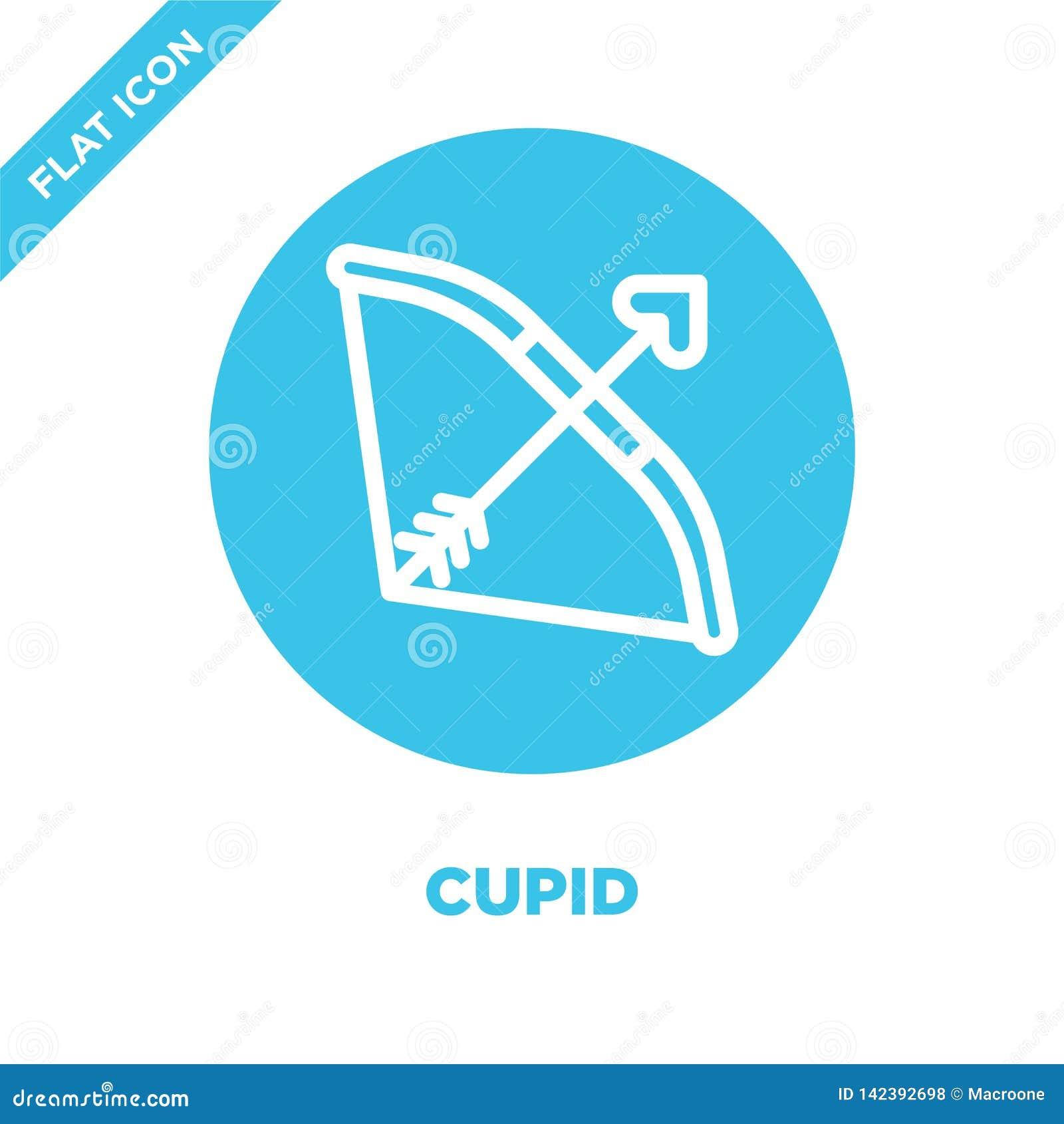 De vector van het cupidopictogram van liefdeinzameling De dunne van het het overzichtspictogram van de lijncupido vectorillustrat