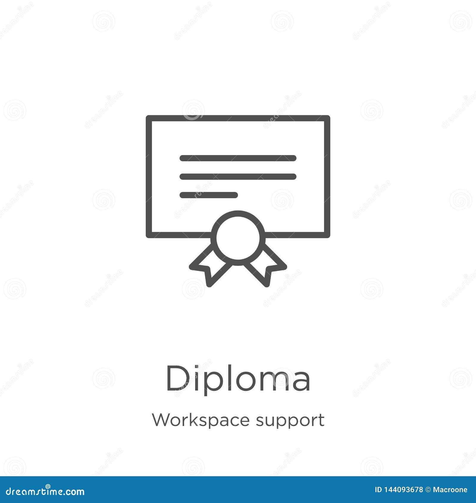 De vector van het diplomapictogram van de inzameling van de werkruimtesteun De dunne van het het overzichtspictogram van het lijn