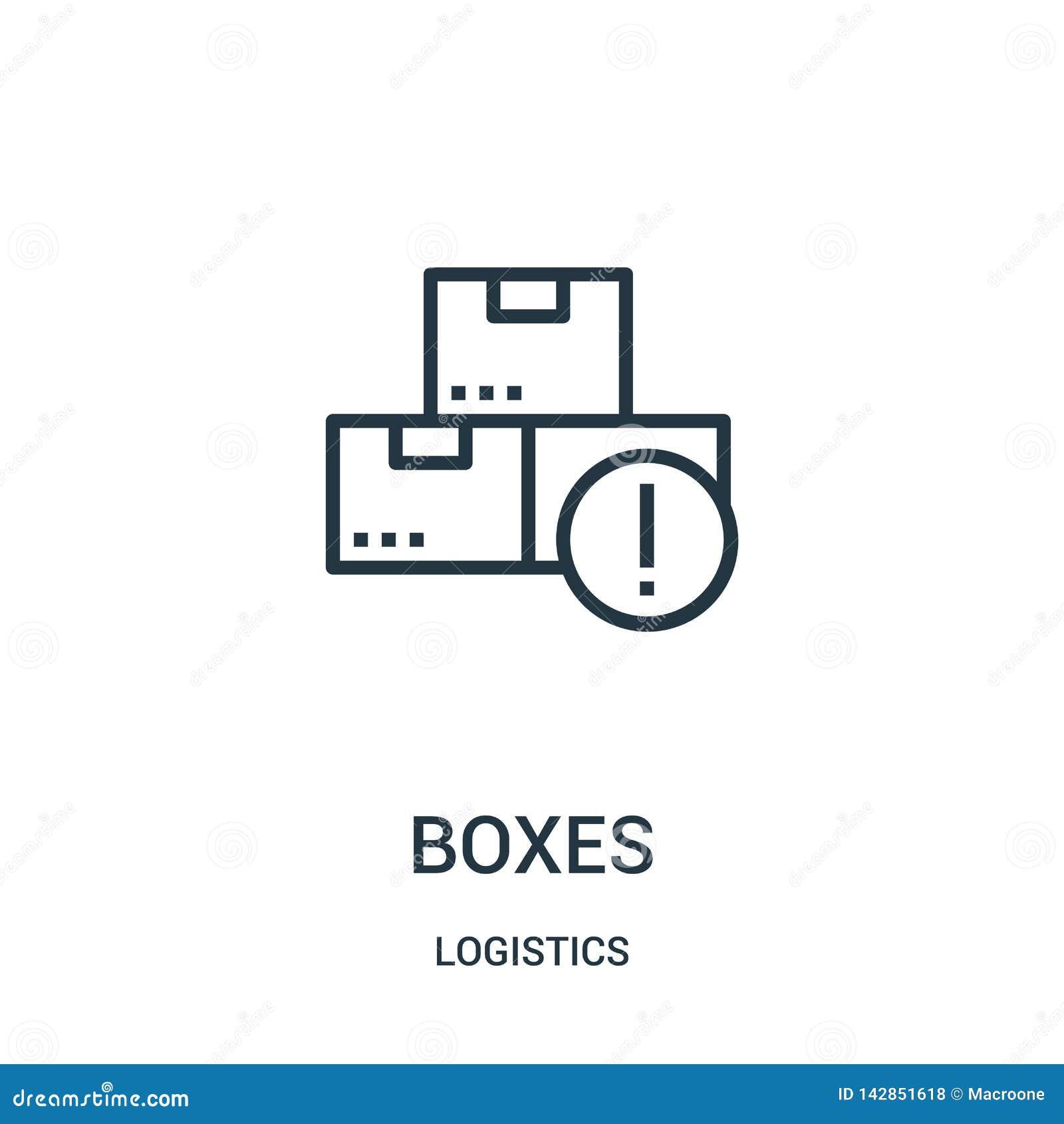 De vector van het dozenpictogram van logistiekinzameling De dunne van het het overzichtspictogram van lijndozen vectorillustratie