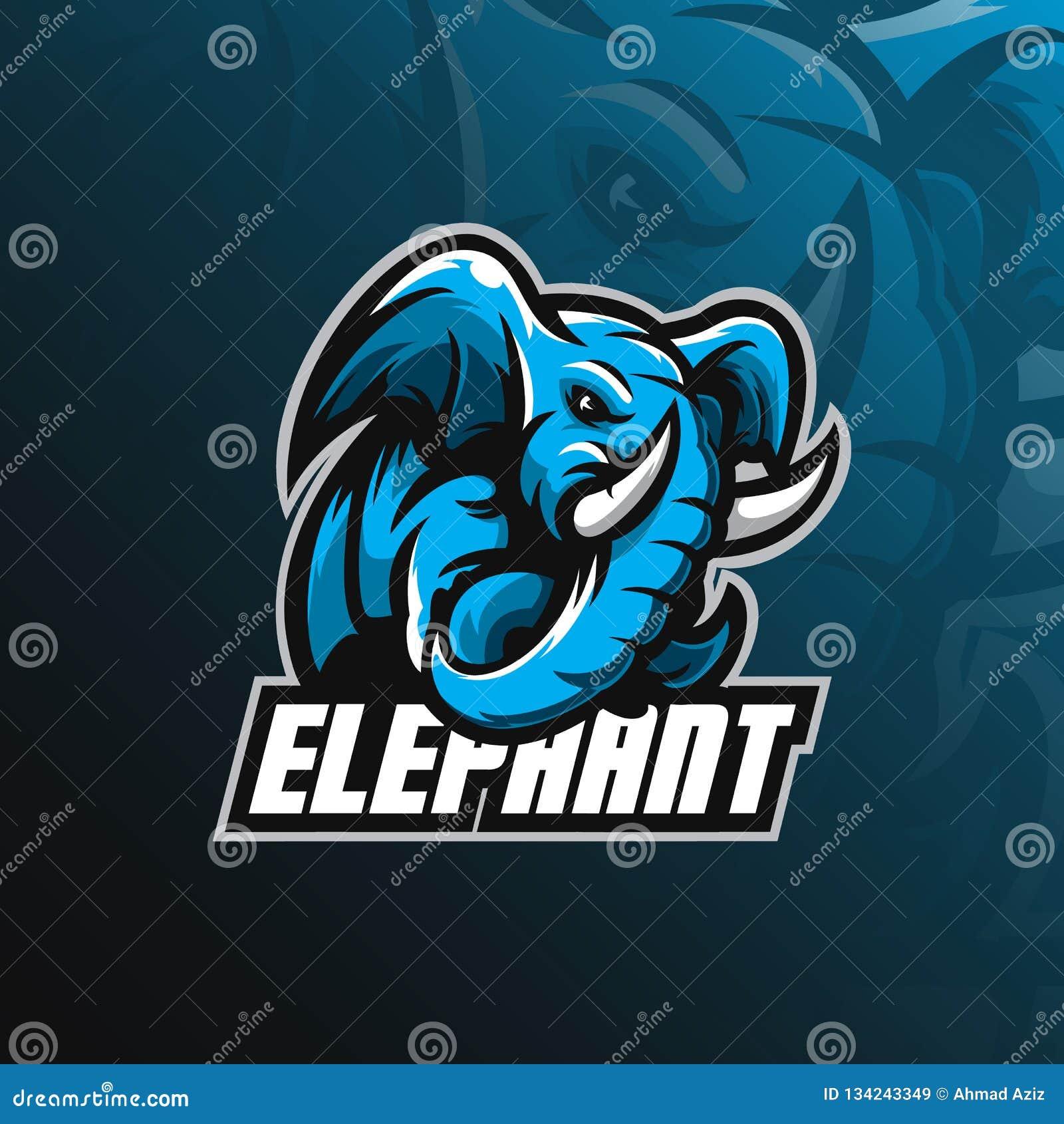 De vector van het het embleemontwerp van de olifantsmascotte met de moderne stijl van het illustratieconcept voor kenteken, emble